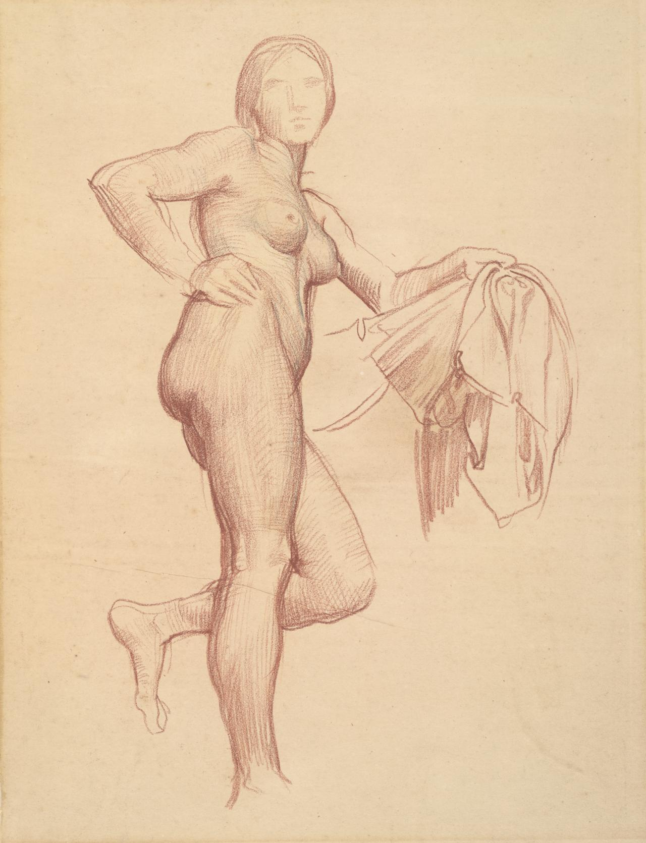 Study of a nude figure,standing