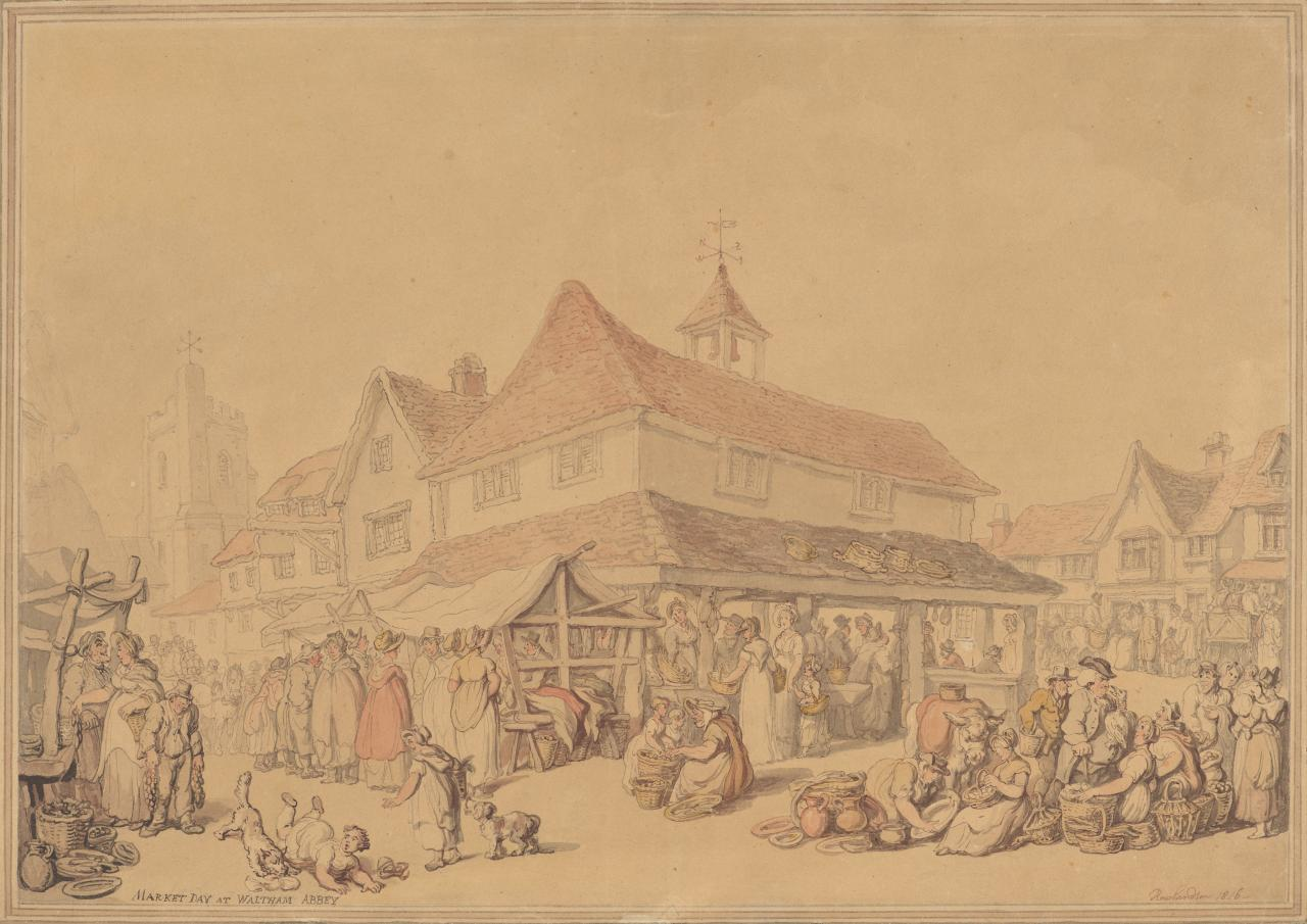 Market day at Waltham Abbey, Essex