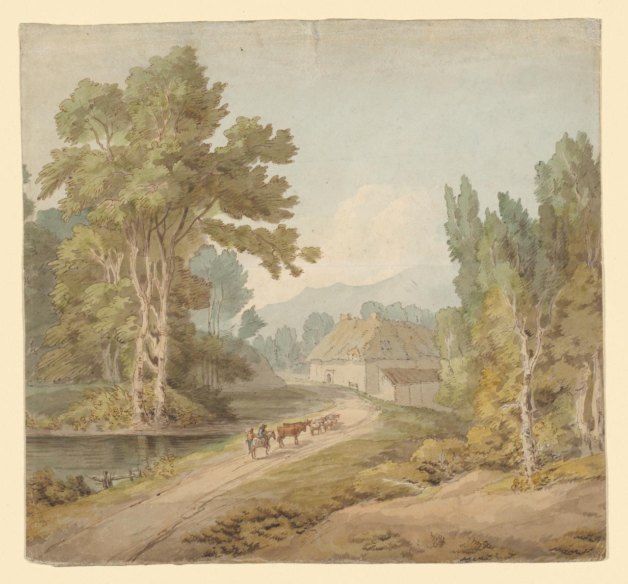 Landscape with cattle on a road