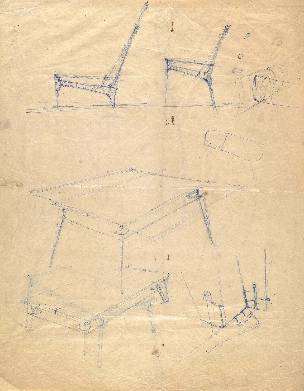 Studies for the cord chair and accompanying table