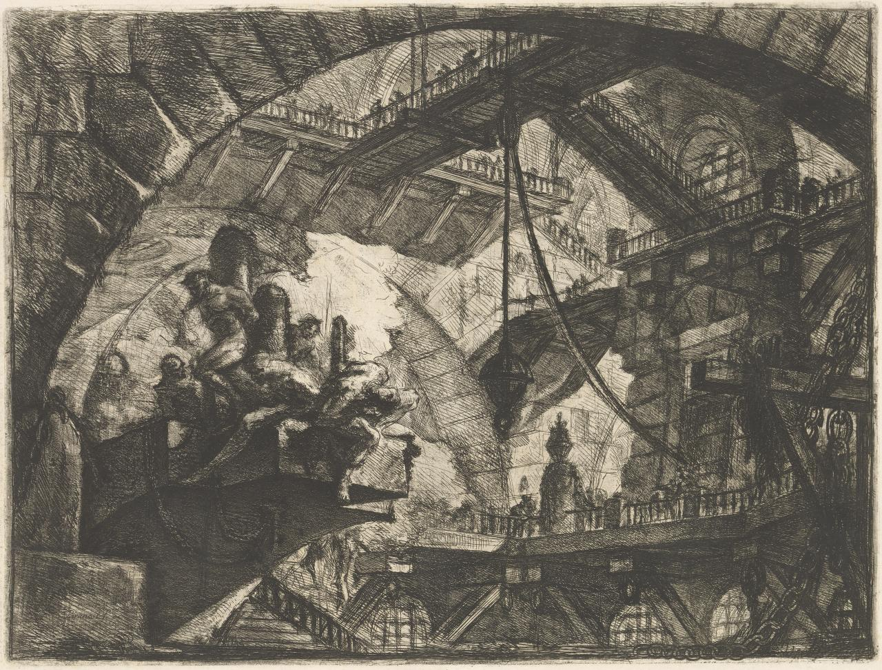 Prisoners on a projecting platform