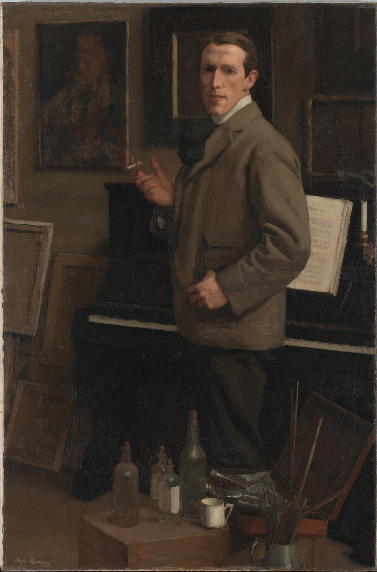 Self portrait (smoking in front of piano)