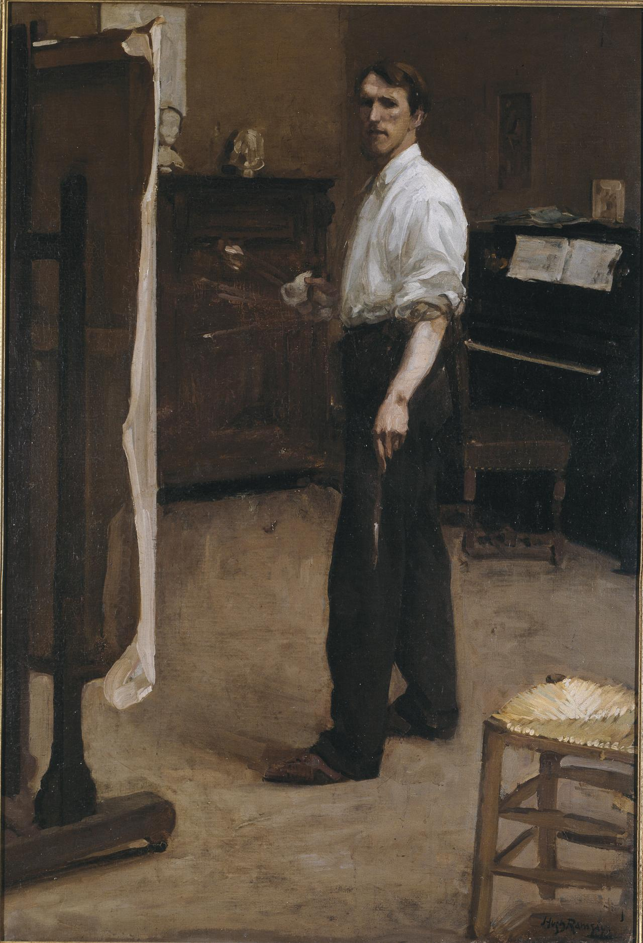 Portrait of the artist standing before easel