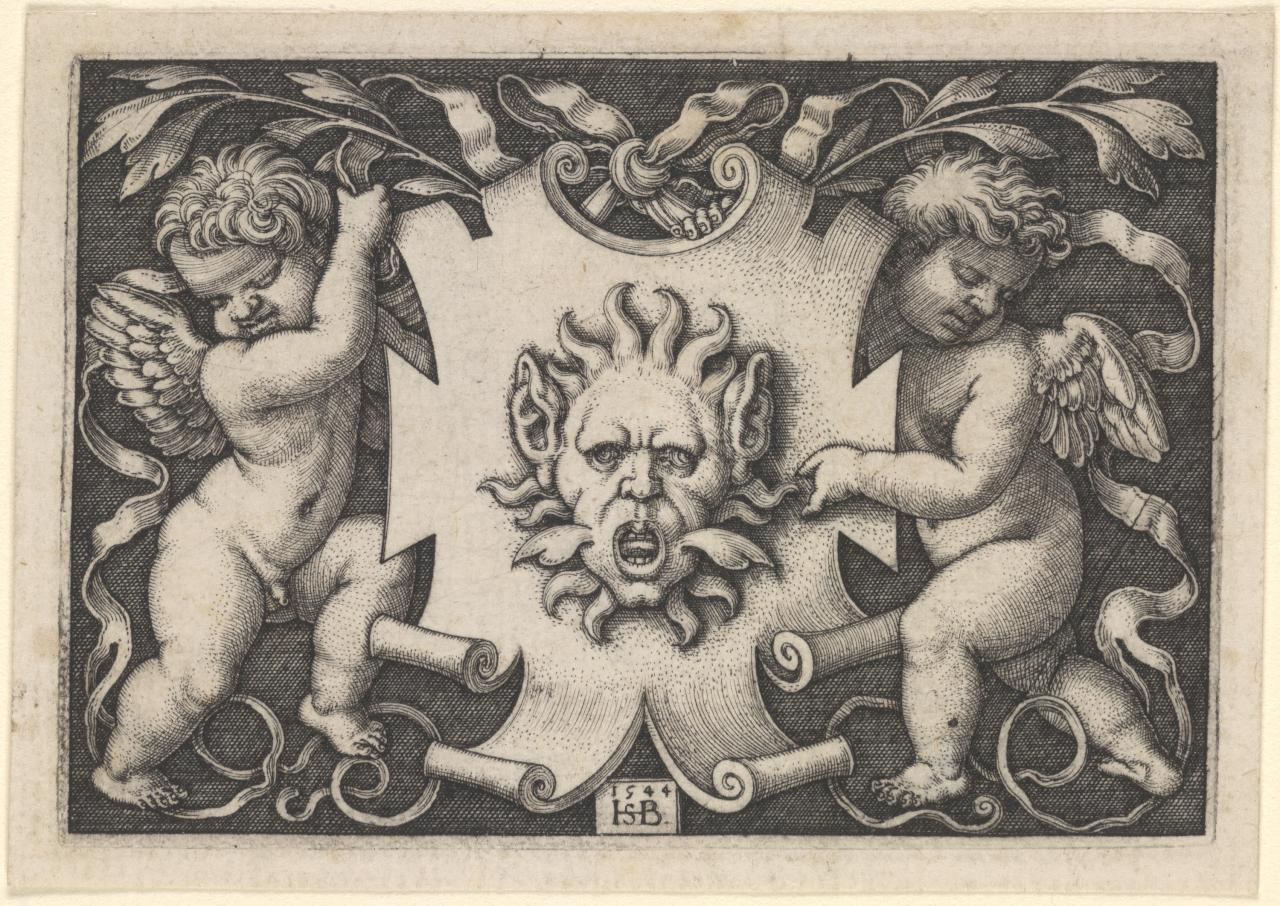 Ornament with a mask held by two genii