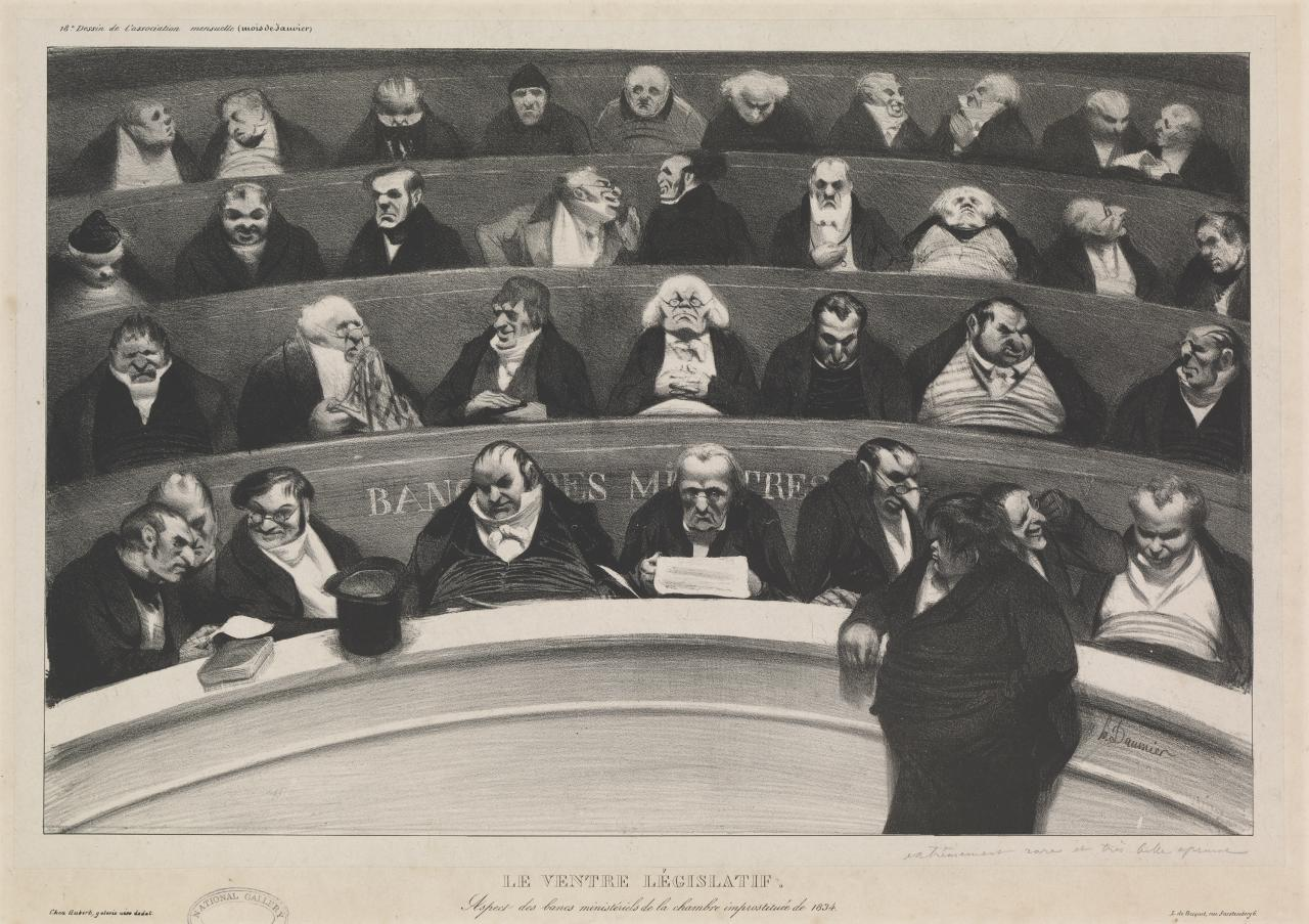 The legislative belly. View of the ministerial benches in the improstituted house of 1834.