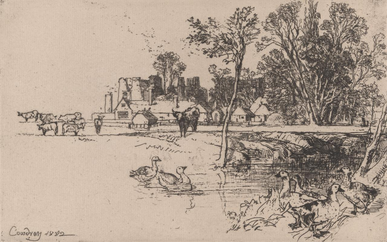 Cowdray Castle with geese
