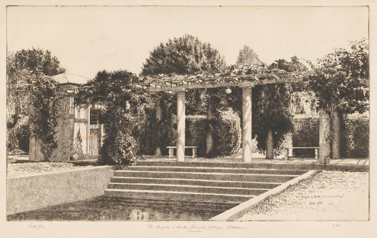 The pergola and bath, Coombe cottage