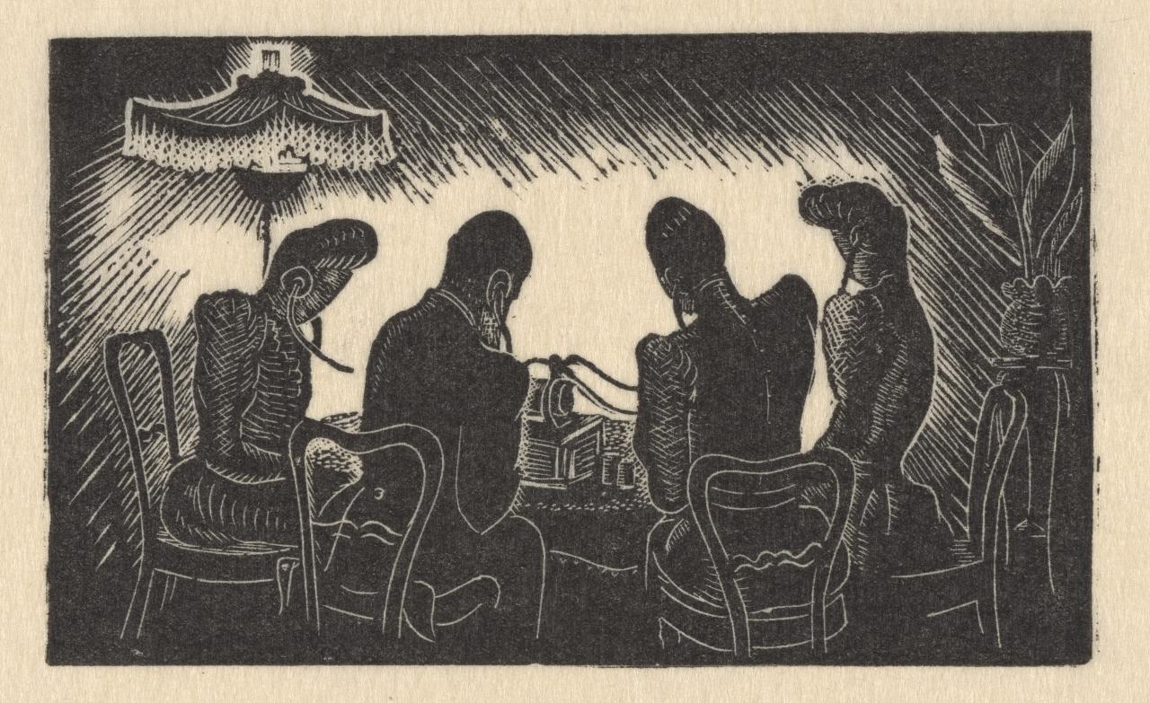 (Four figures seated at a table listening to a phonograph through earpieces)