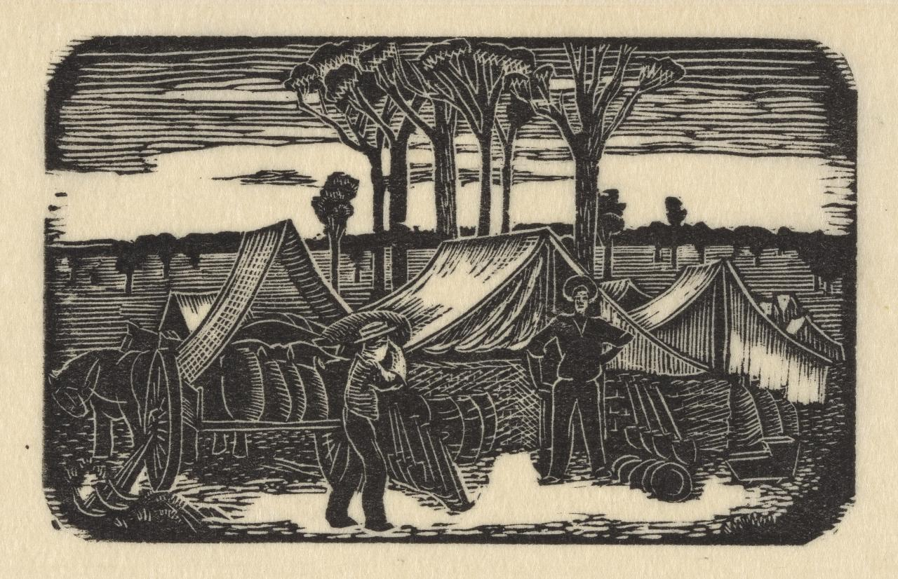 (Man unloading dray at goldfields whilst another man, spade in hand, looks on)