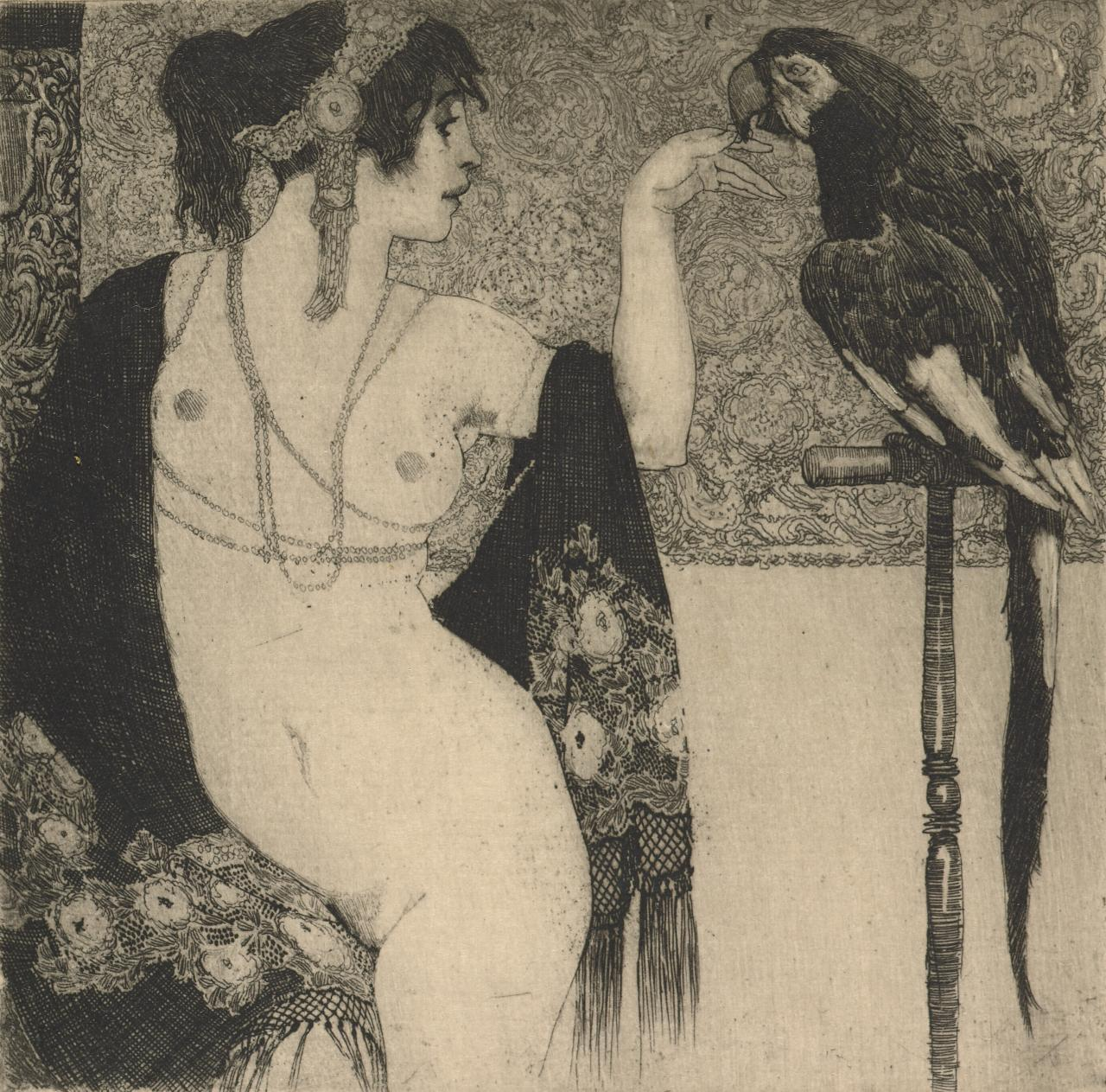 Lady and the parrot