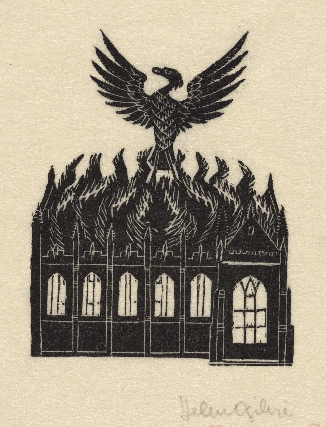 (Eagle rising from flames of burning building)