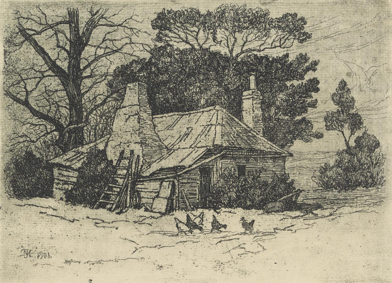 Old cottage with hens