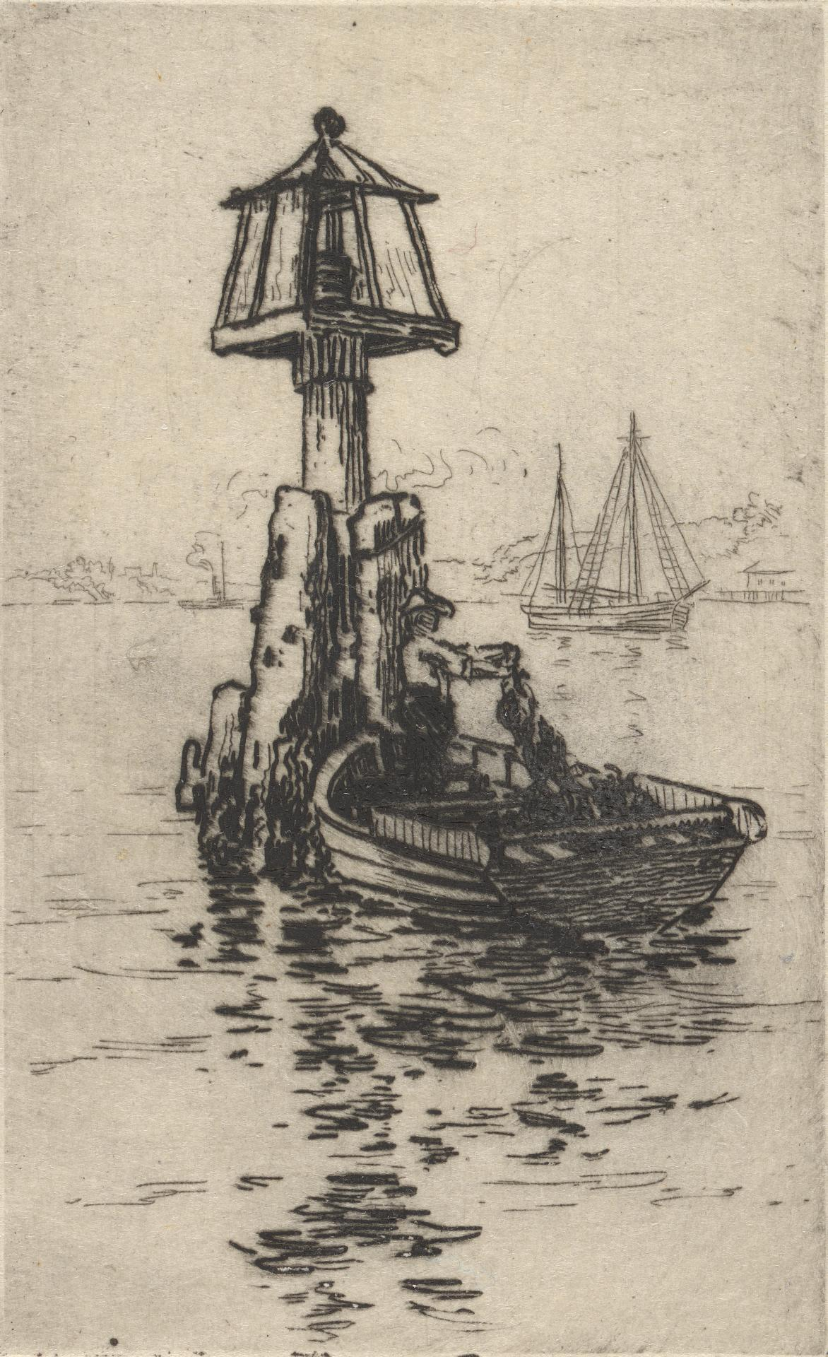 Fishing boat and harbour light (Sydney Harbour)