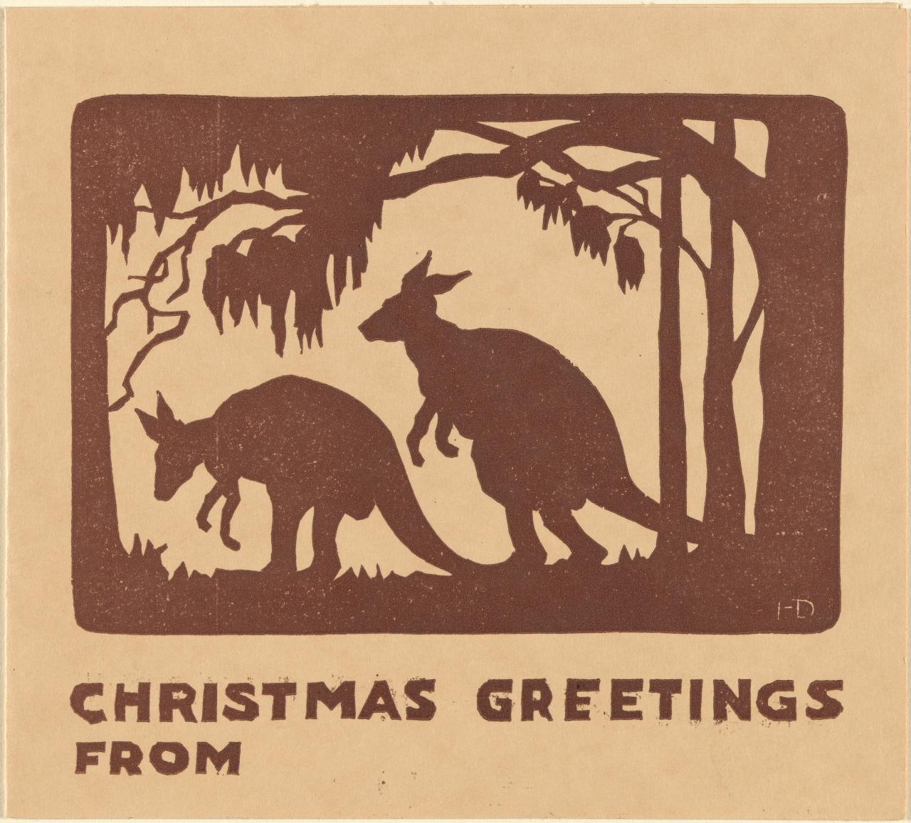 Christmas greetings from (Kangaroos in bush)