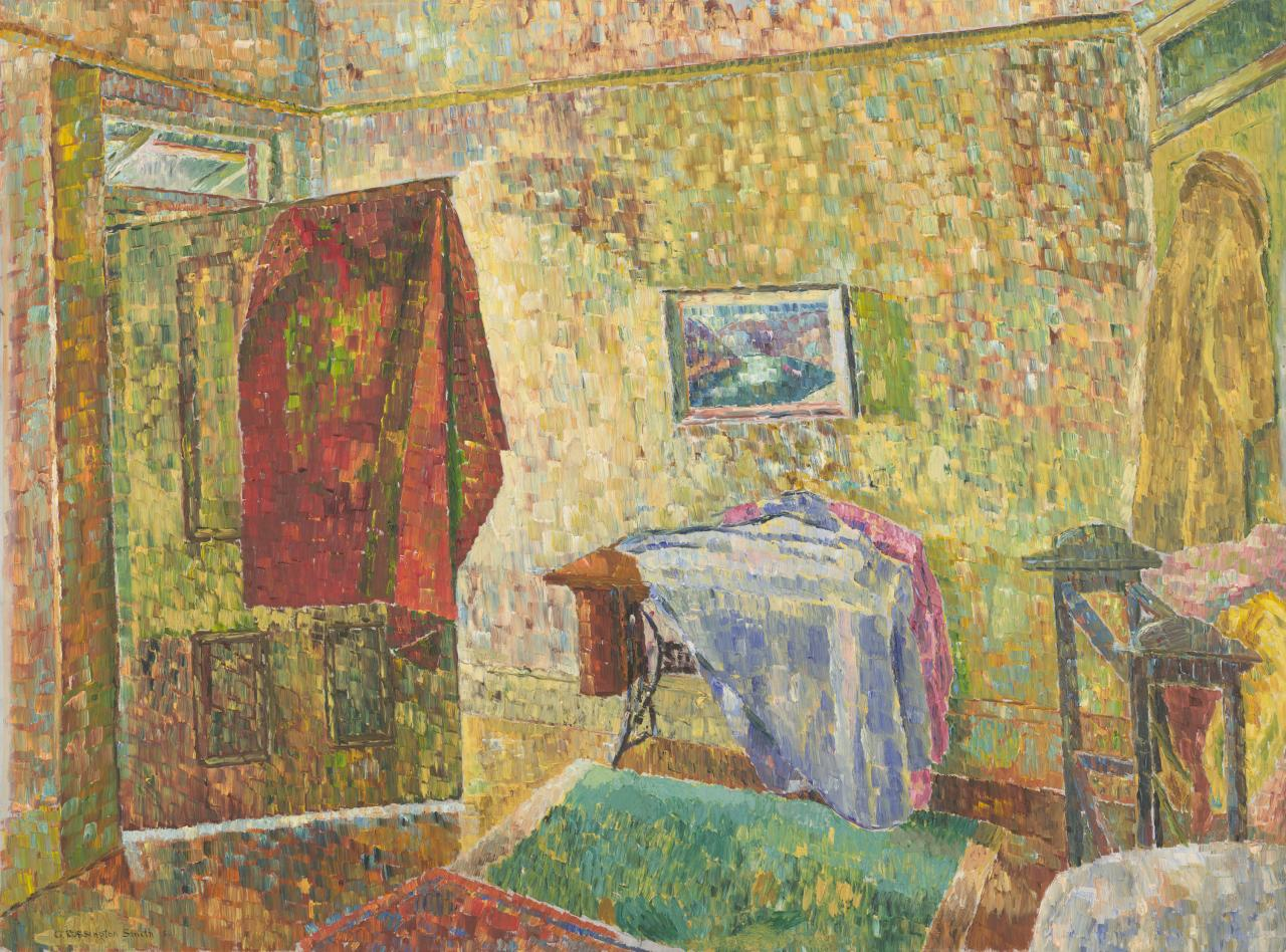 Interior with blue painting