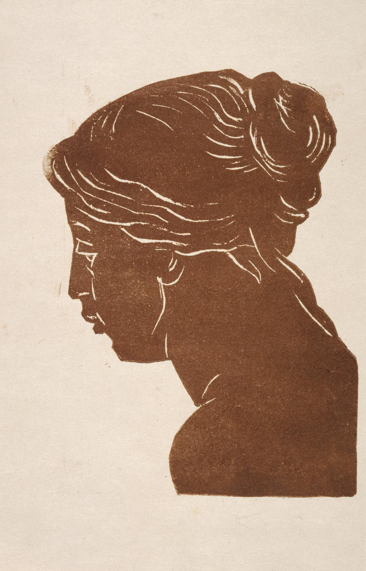 Head of a woman, three-quarters profile.