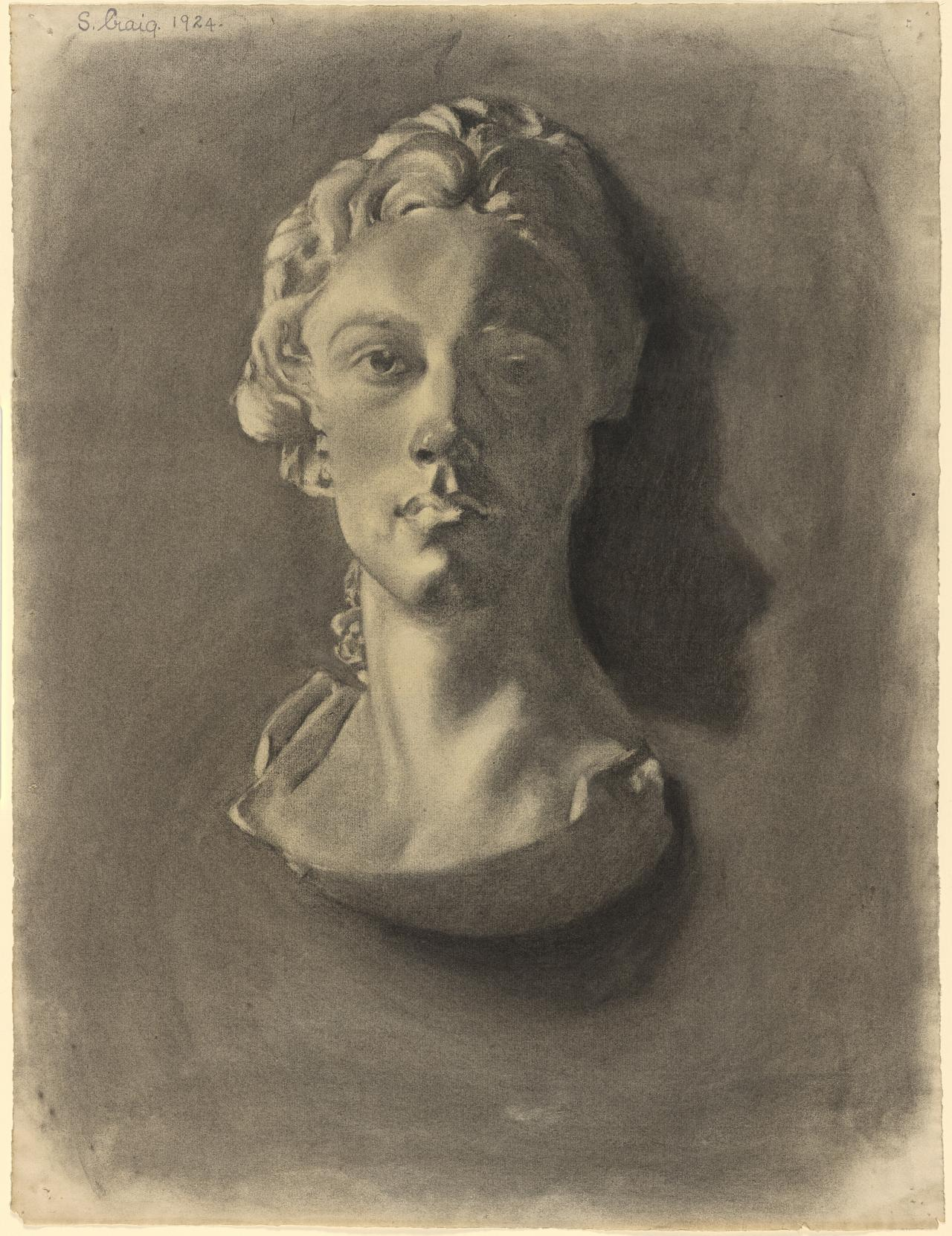 Plaster bust of a young woman