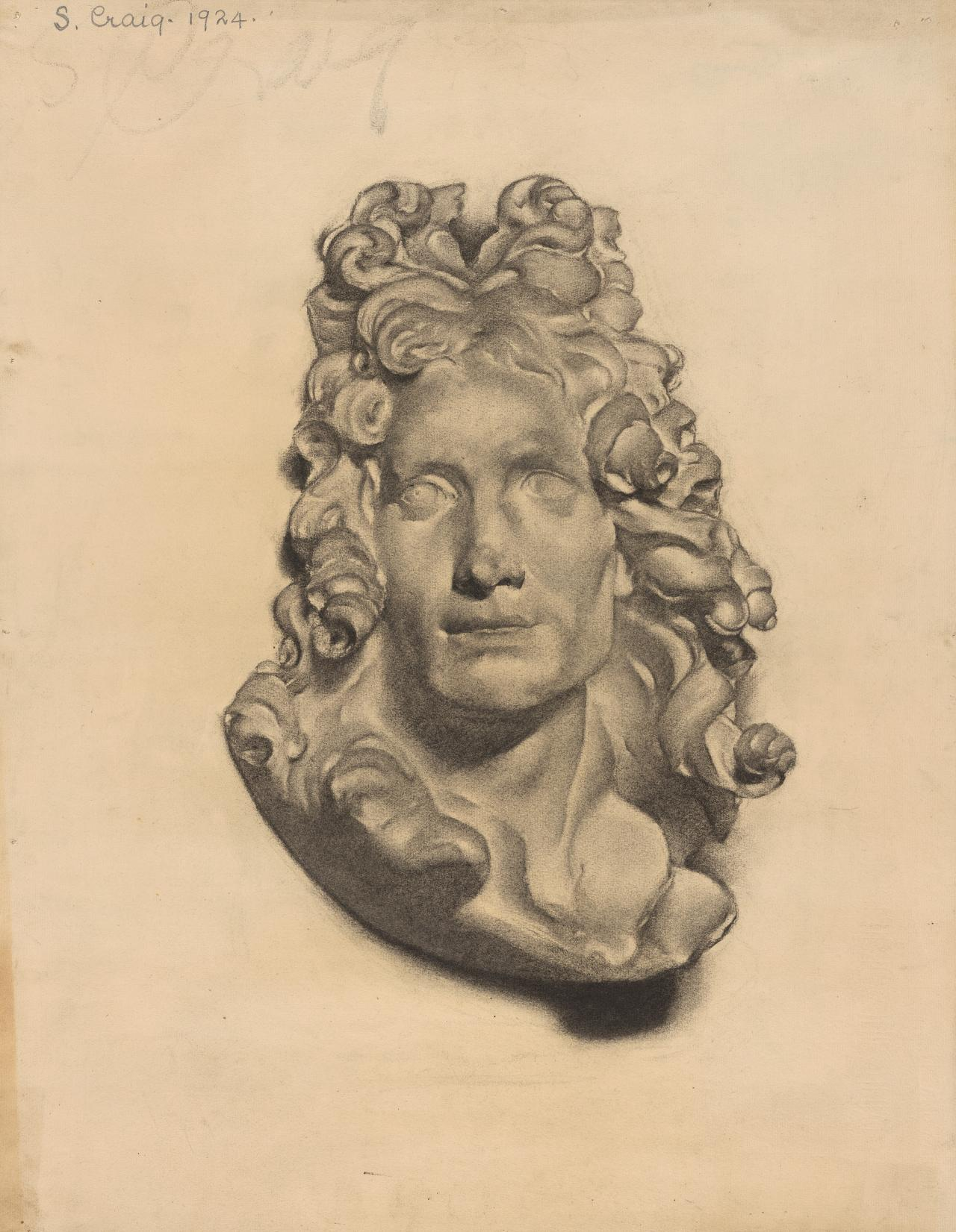 Plaster head of a man with curled hair