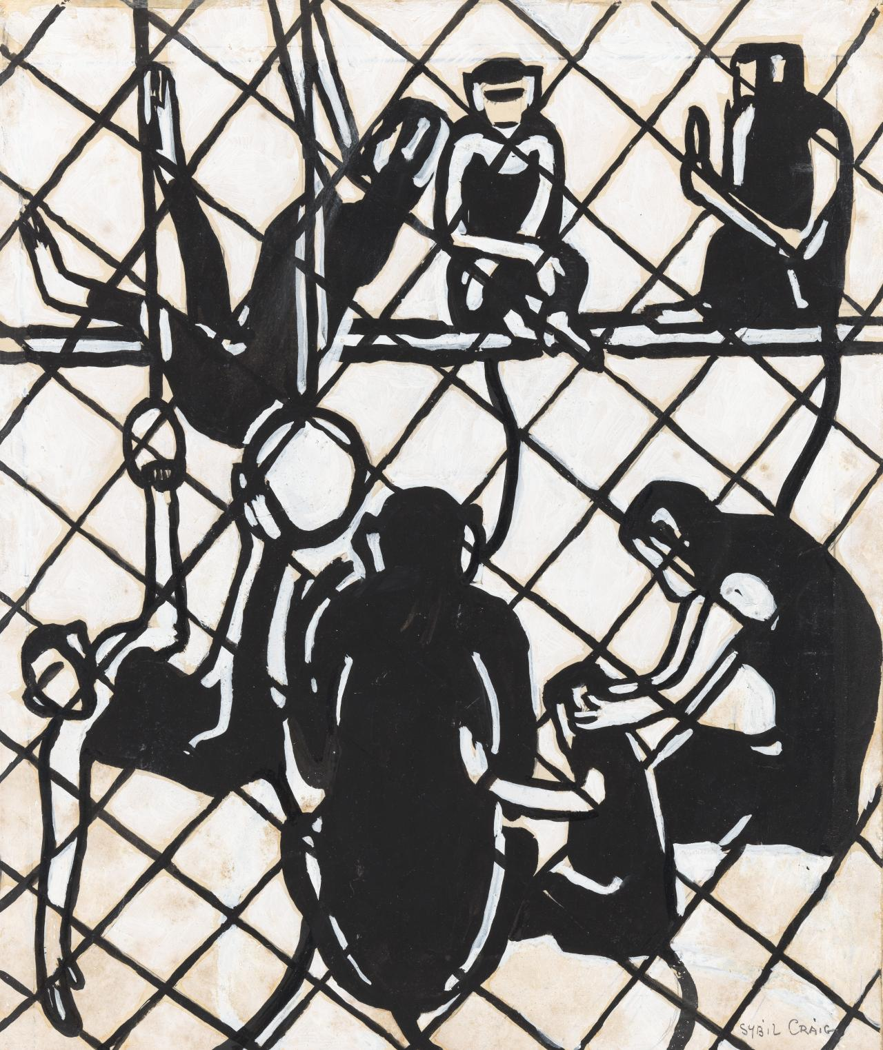 Seven monkeys in a cage