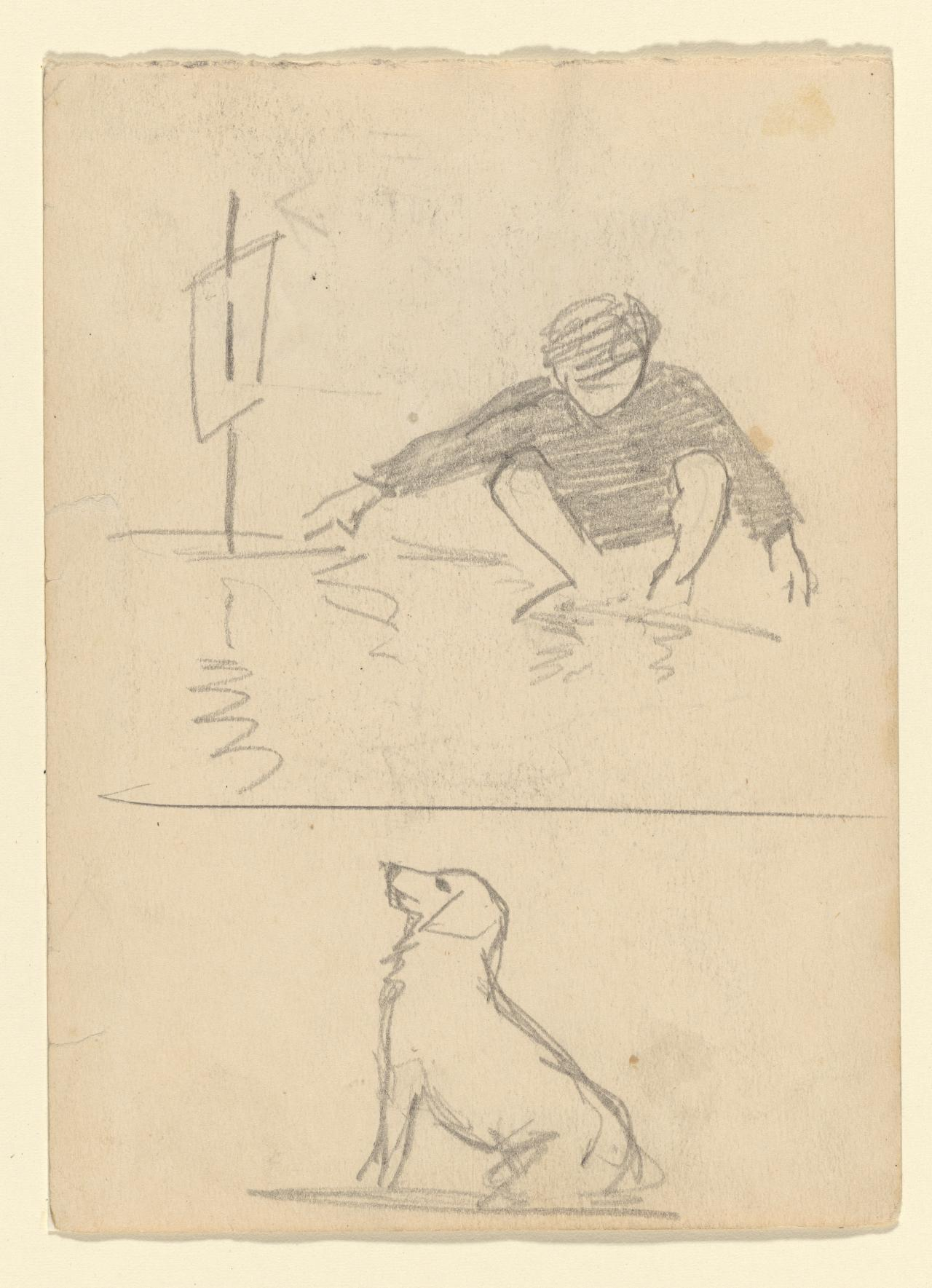 Sketches of a boy sailing a boat and of a dog