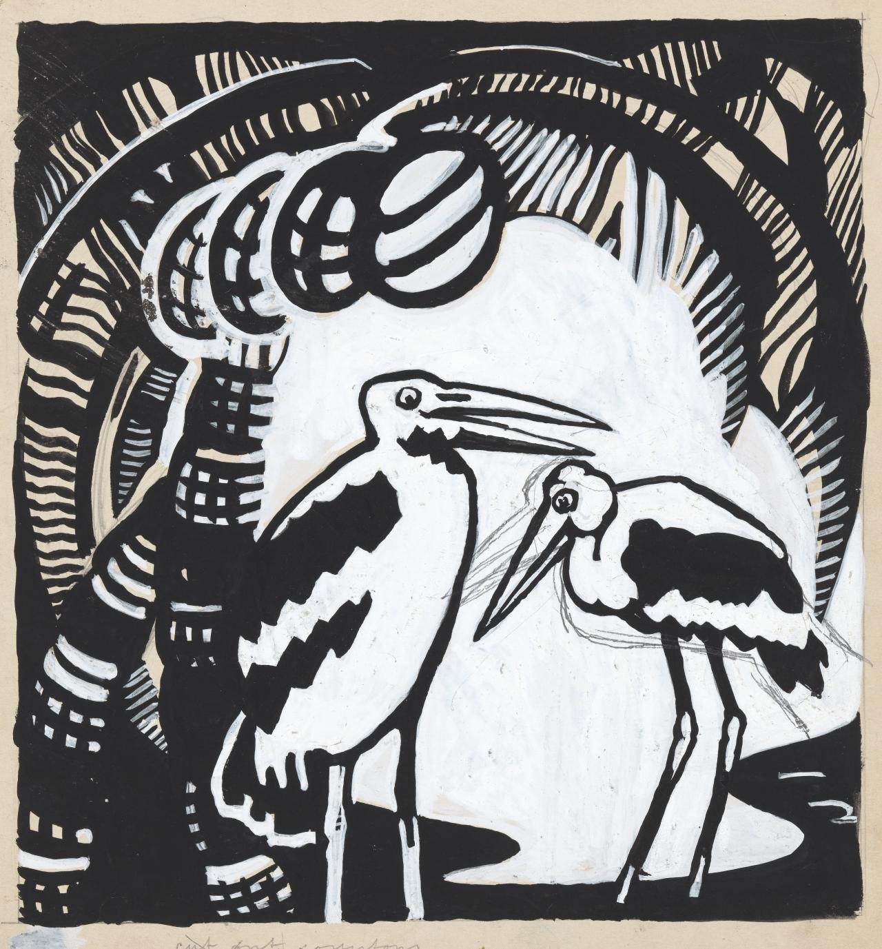 Two storks in patterned background