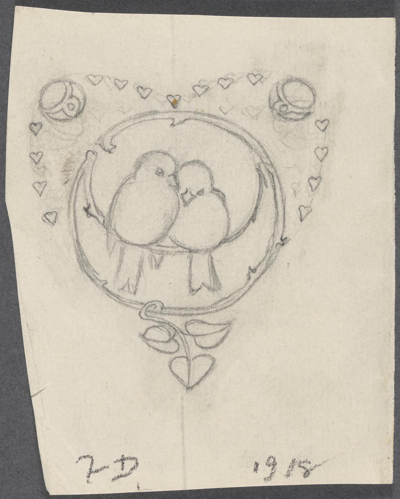 Motif of lovebirds