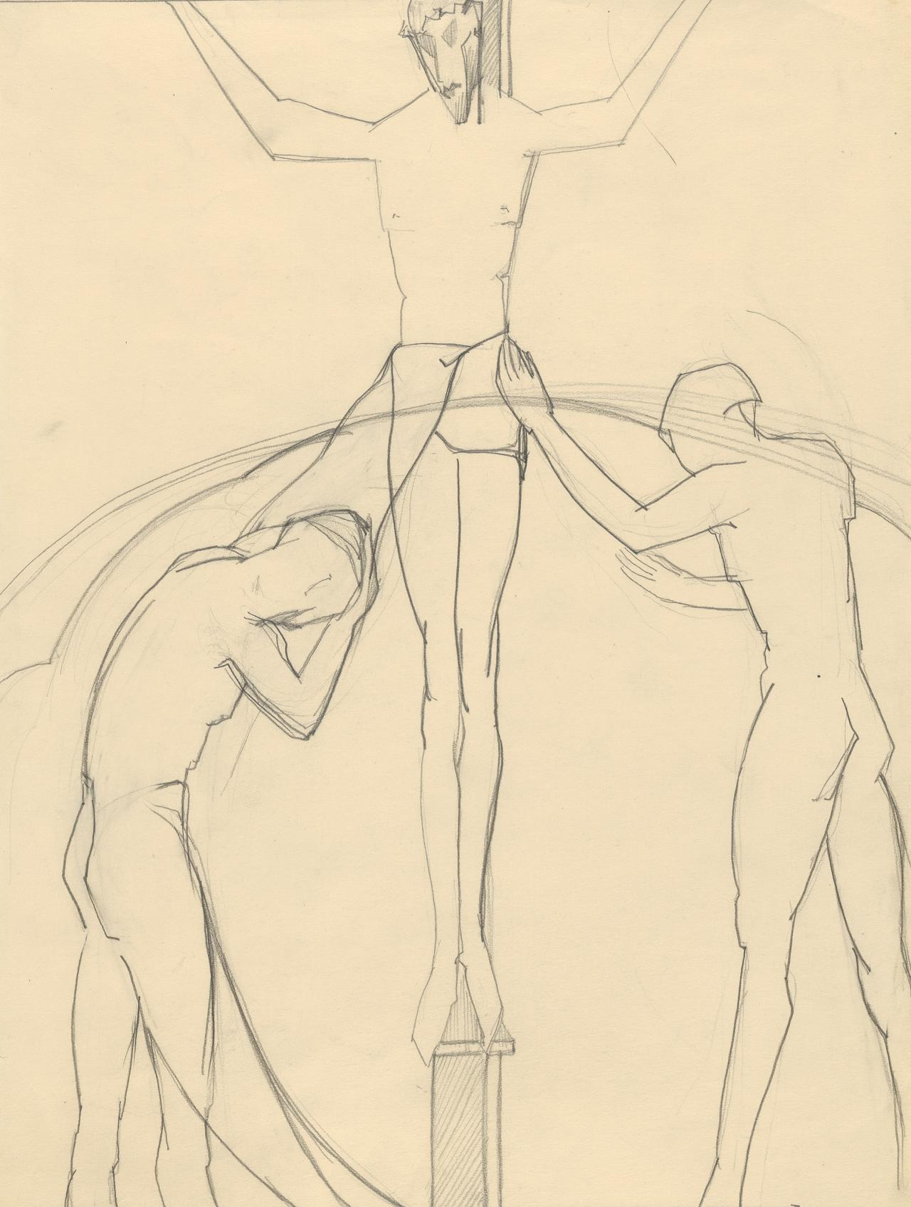 Three figures in crucifixion scene