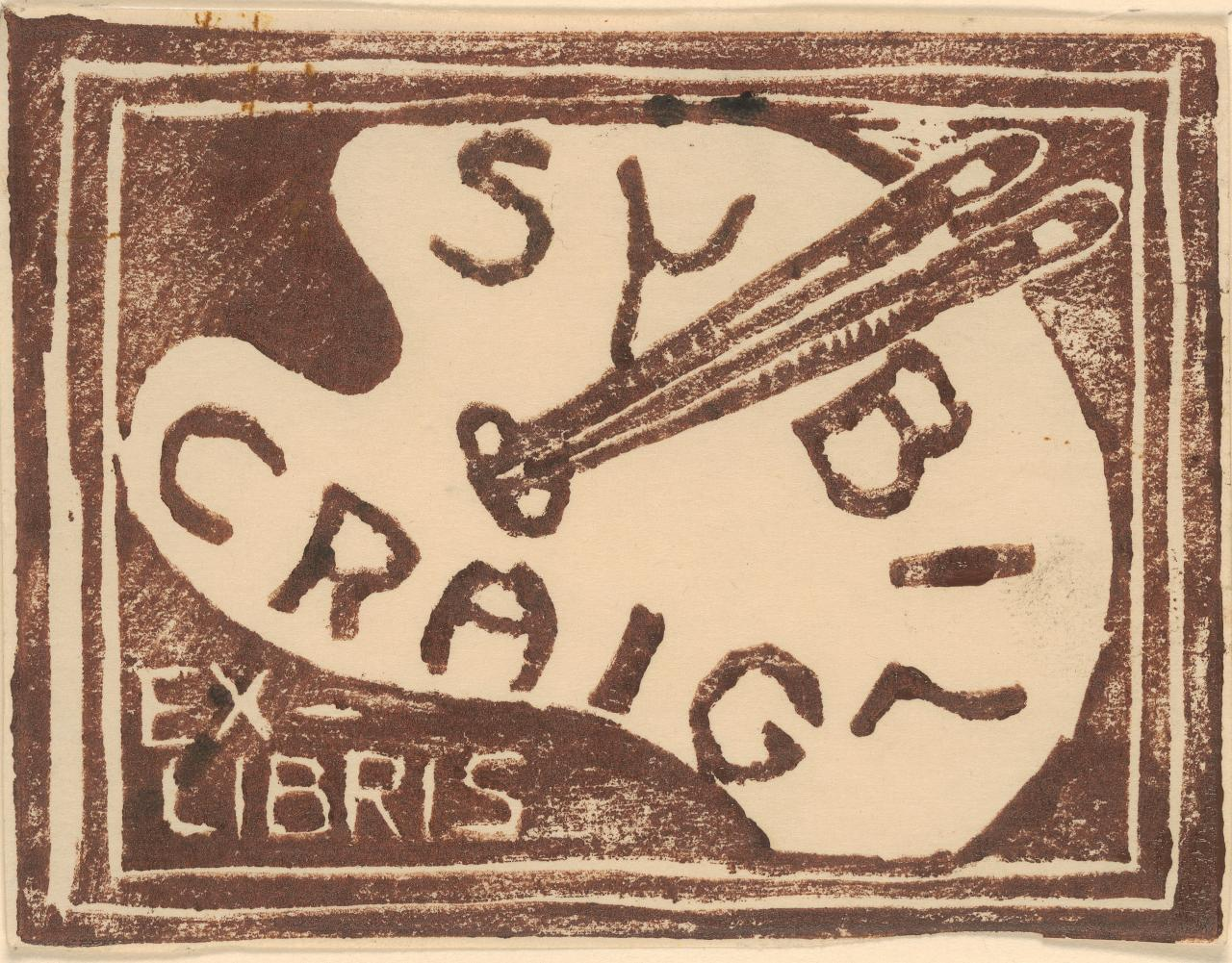 Bookplate of Sybil Craig (palette and brushes)