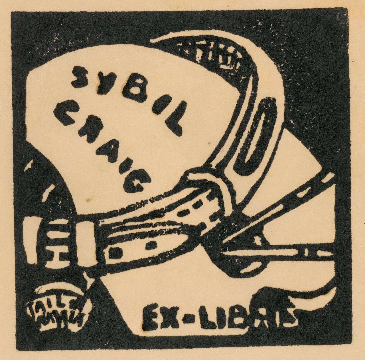 Bookplate of Sybil Craig (palette and dog collar)