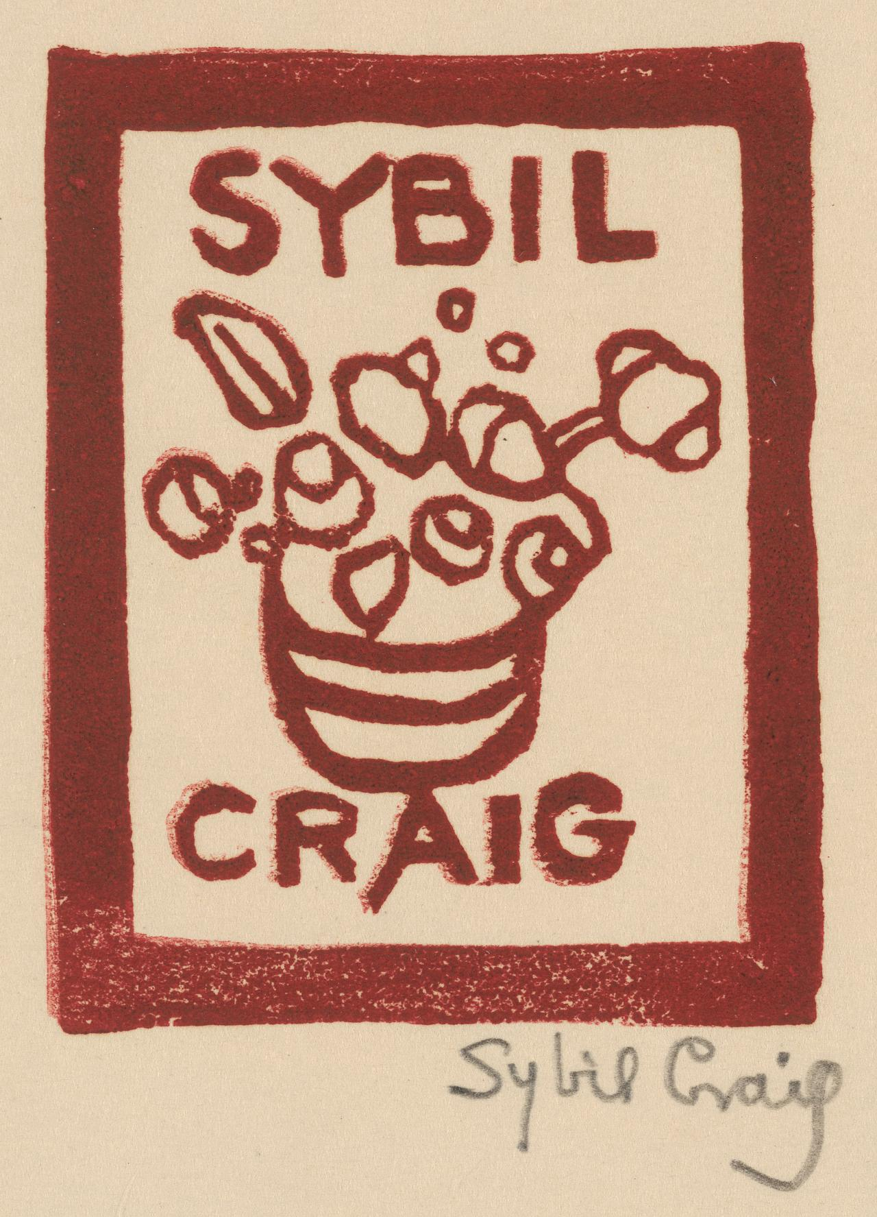 Bookplate of Sybil Craig (vase of flowers)