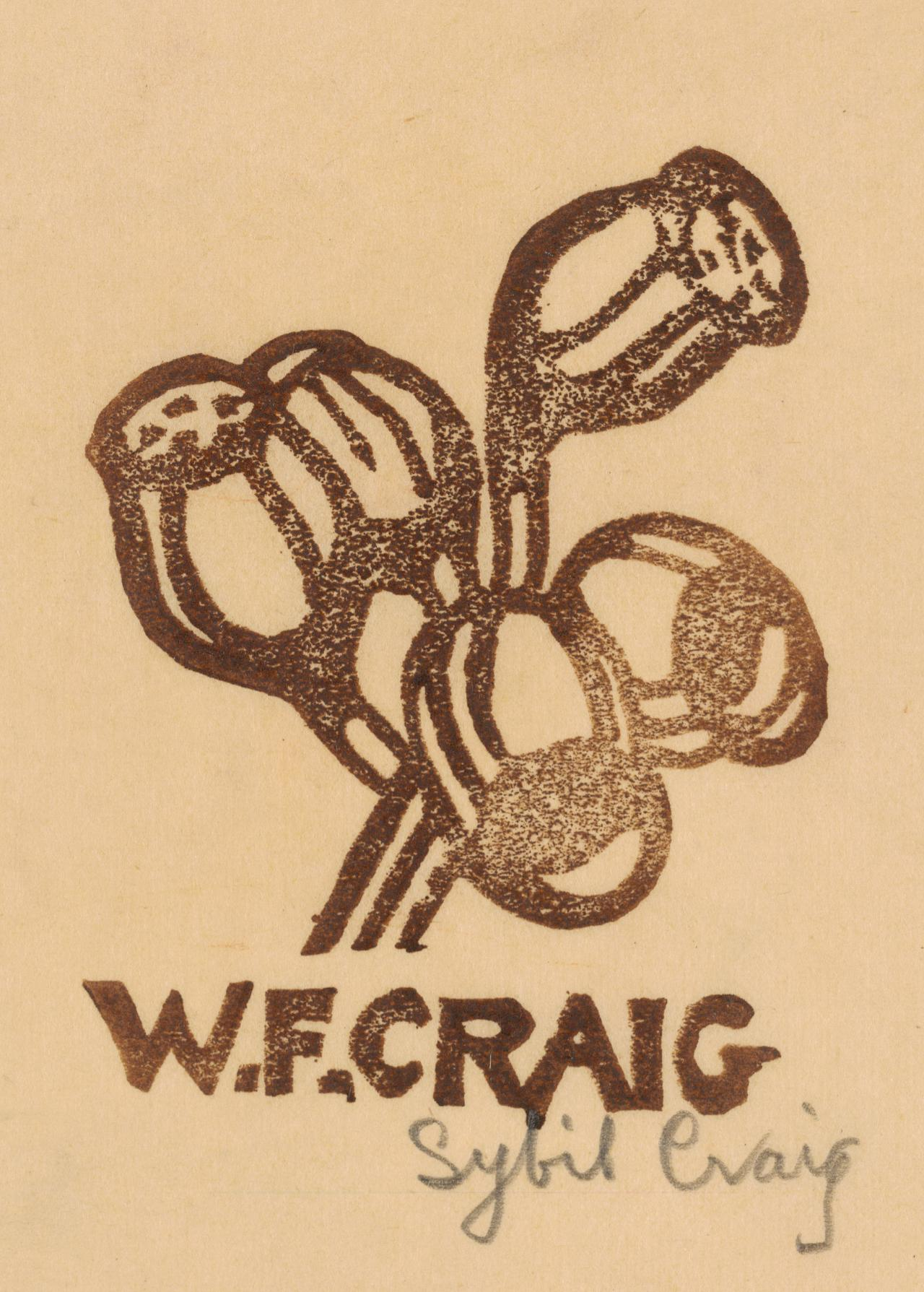 Bookplate of W.F. Craig (gum-nuts)
