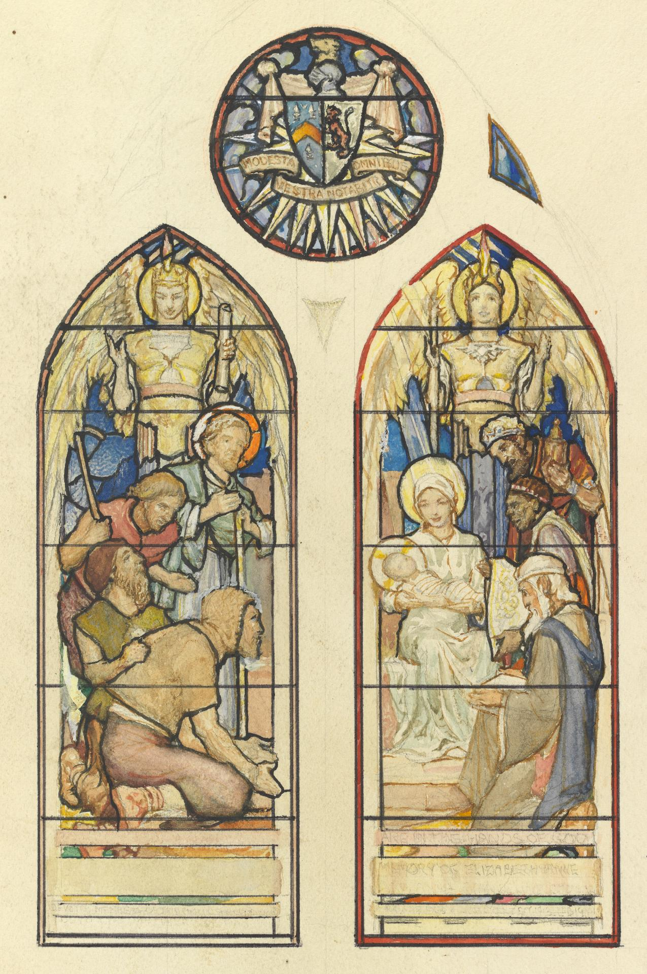Design for stained glass memorial window: Adoration of the Shepherds