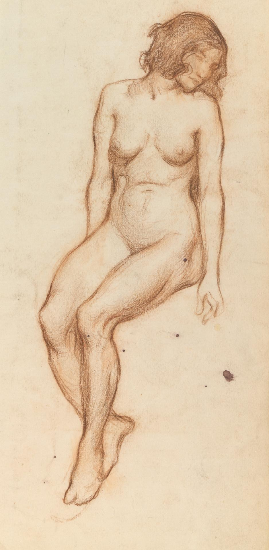 Seated female nude; (on reverse) sketch of legs