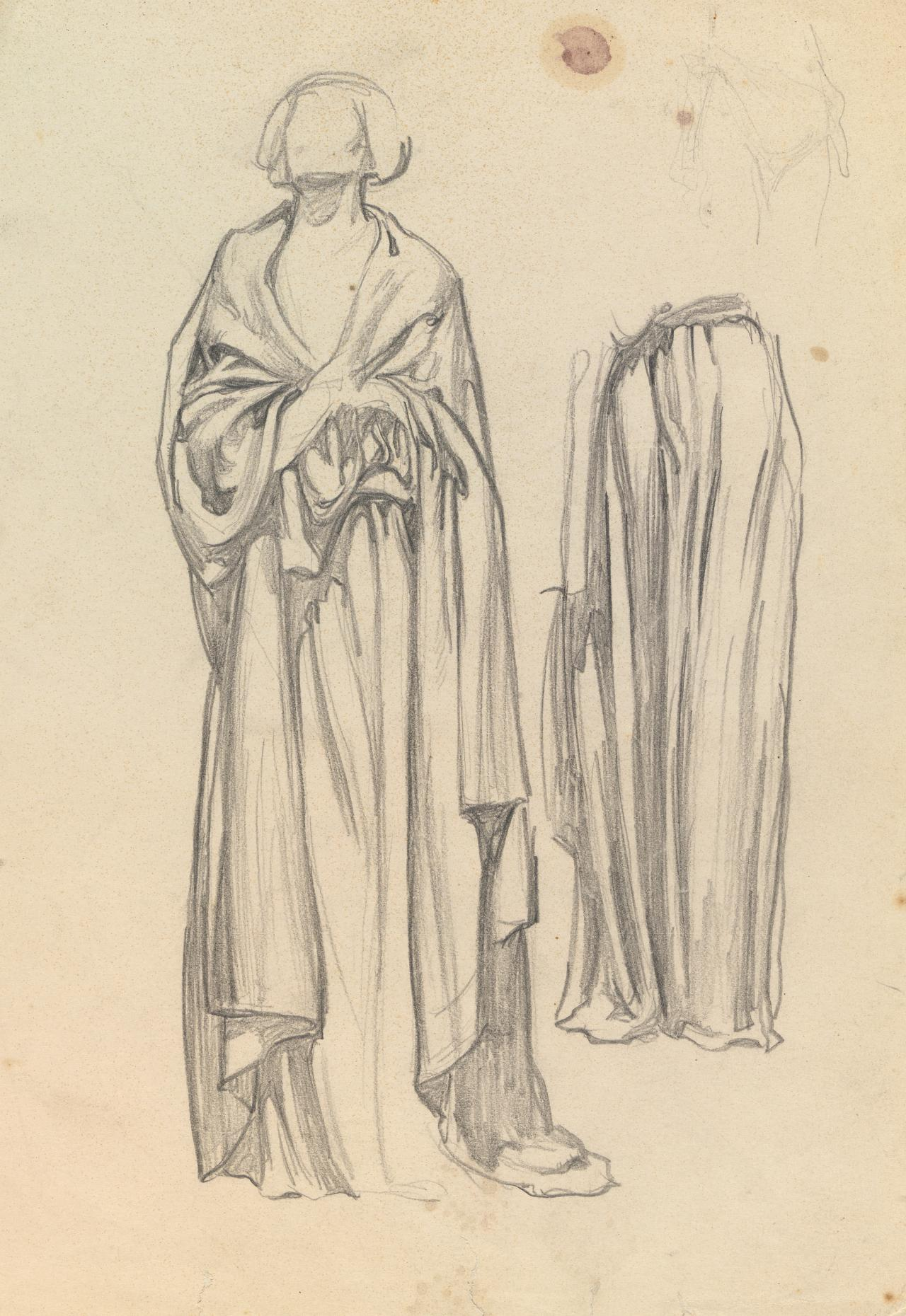 Drapery studies for the Myer murals; (on reverse) sketches of a rabbit