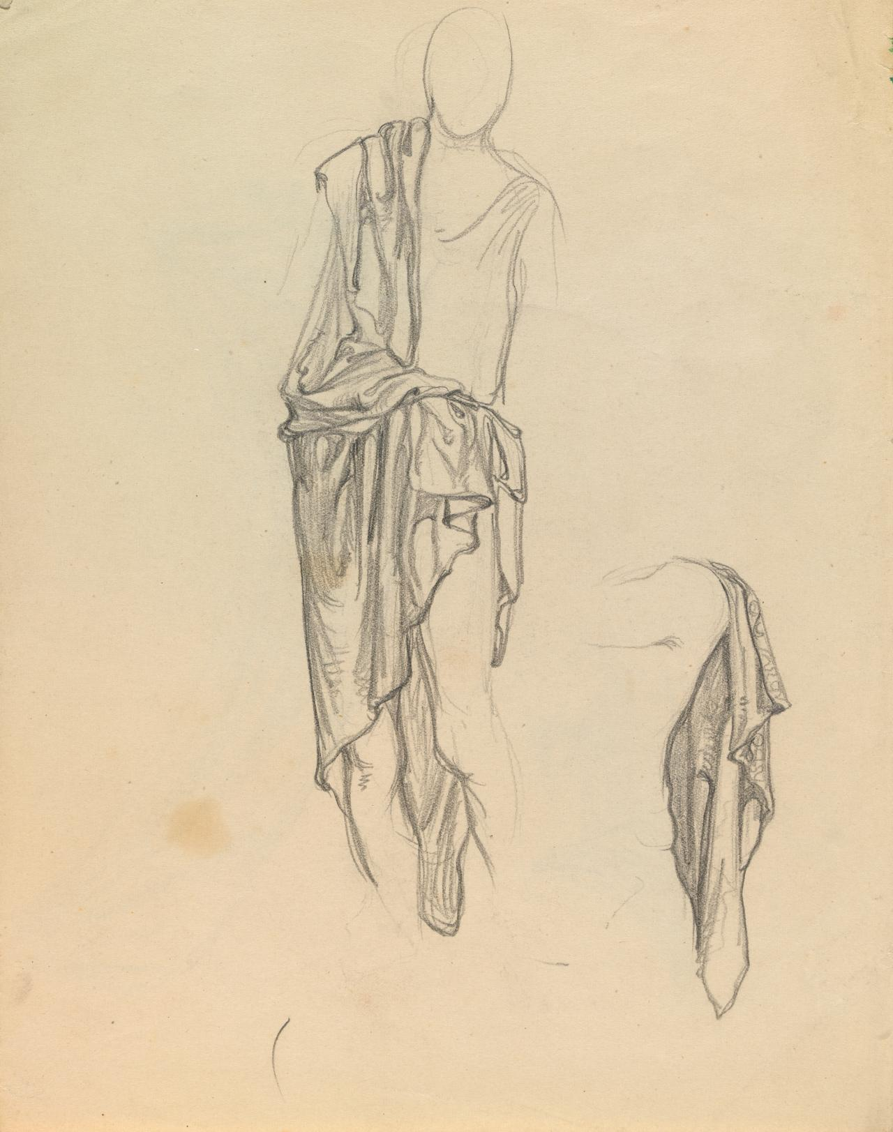 Drapery studies for the Myer murals (front and reverse)