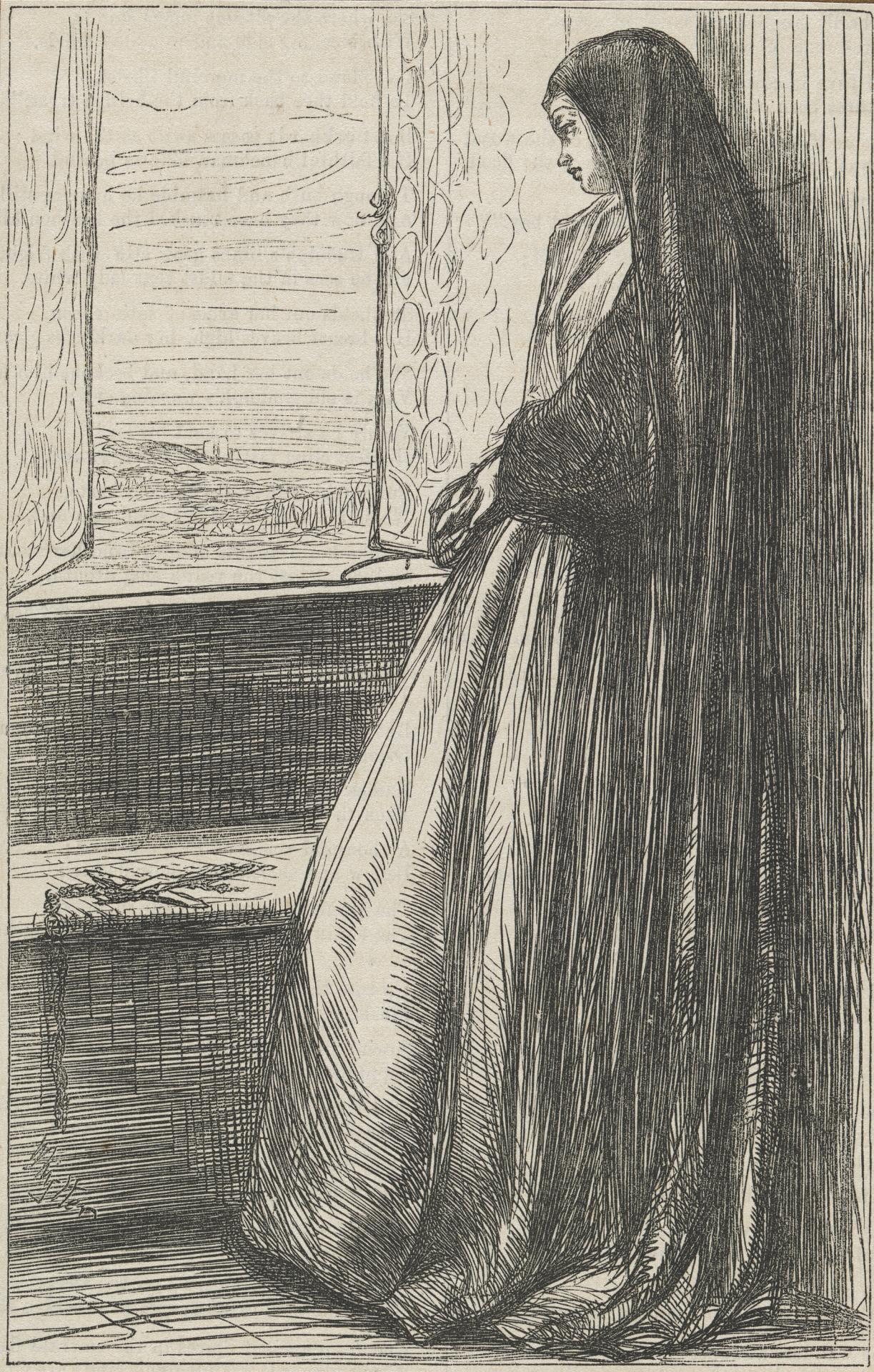 (A nun gazing out of a window)