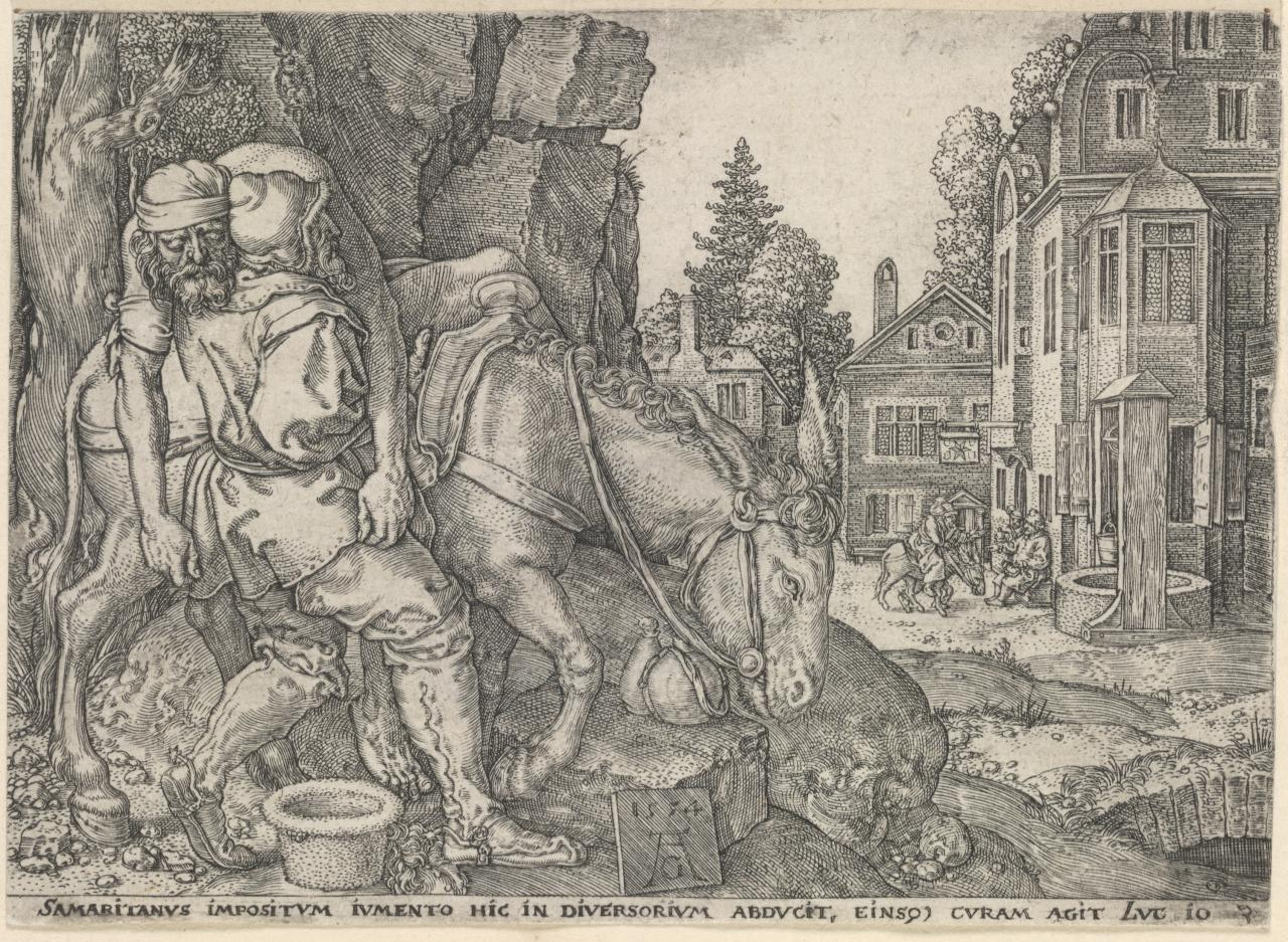 The Good Samaritan loading the man who fell among thieves, on his donkey