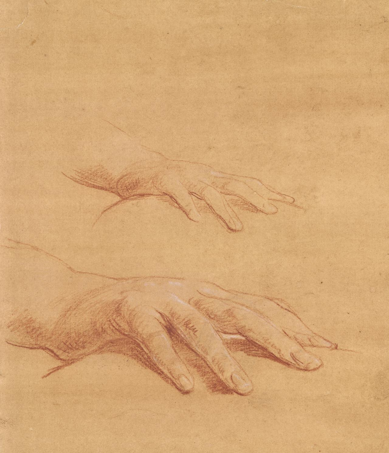 Studies of a hand: study for the fall of Simon the Magician in Santa Maria degli Angeli