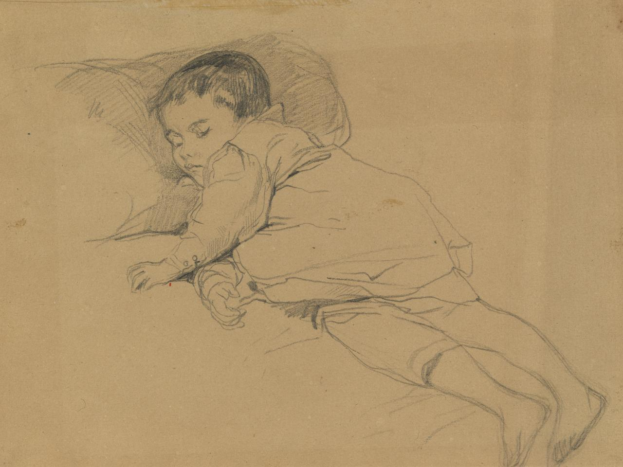 (Study of a sleeping child, full-length)