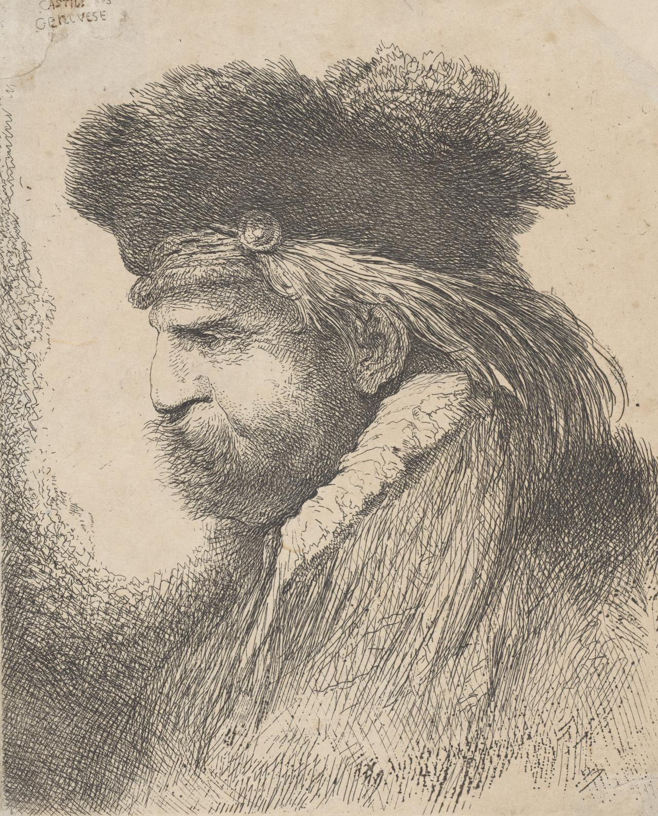 Man with a mustache, wearing a fur headdress, facing left