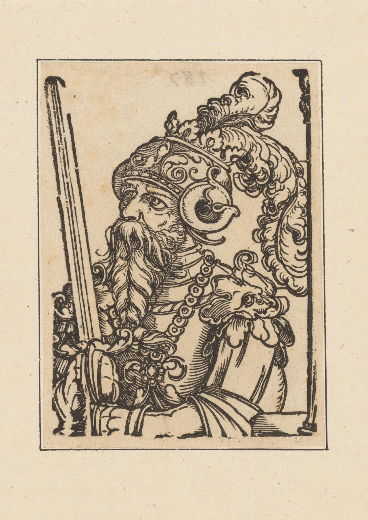 Untitled (half figure of bearded warrior with plumed helmut and raised sword)