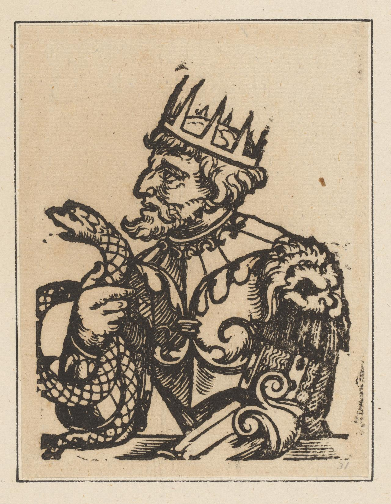 Untitled (half figure of a king holding a serpent)