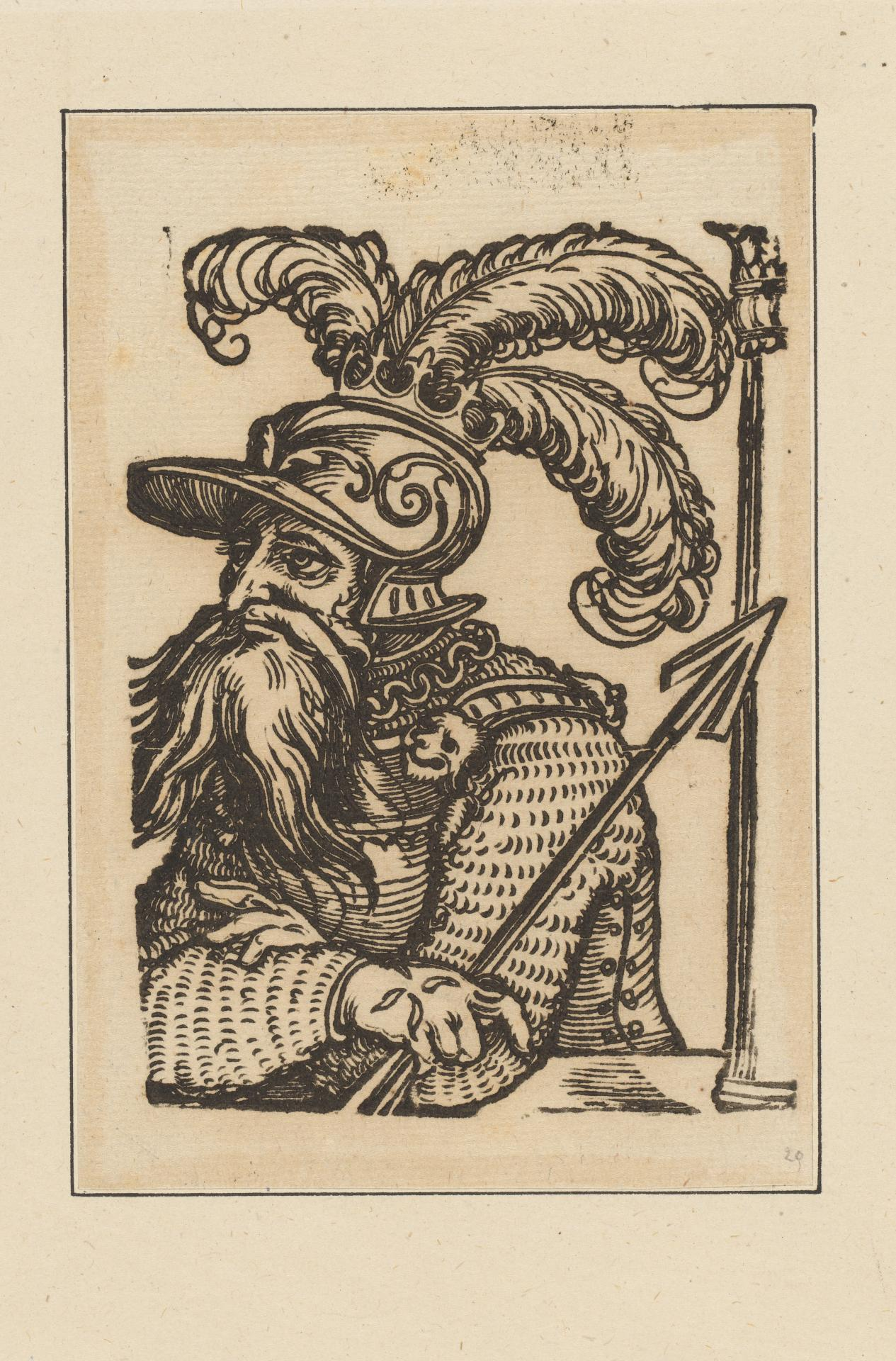 Untitled (half figure of warrior in plumed helmut, holding a spear)