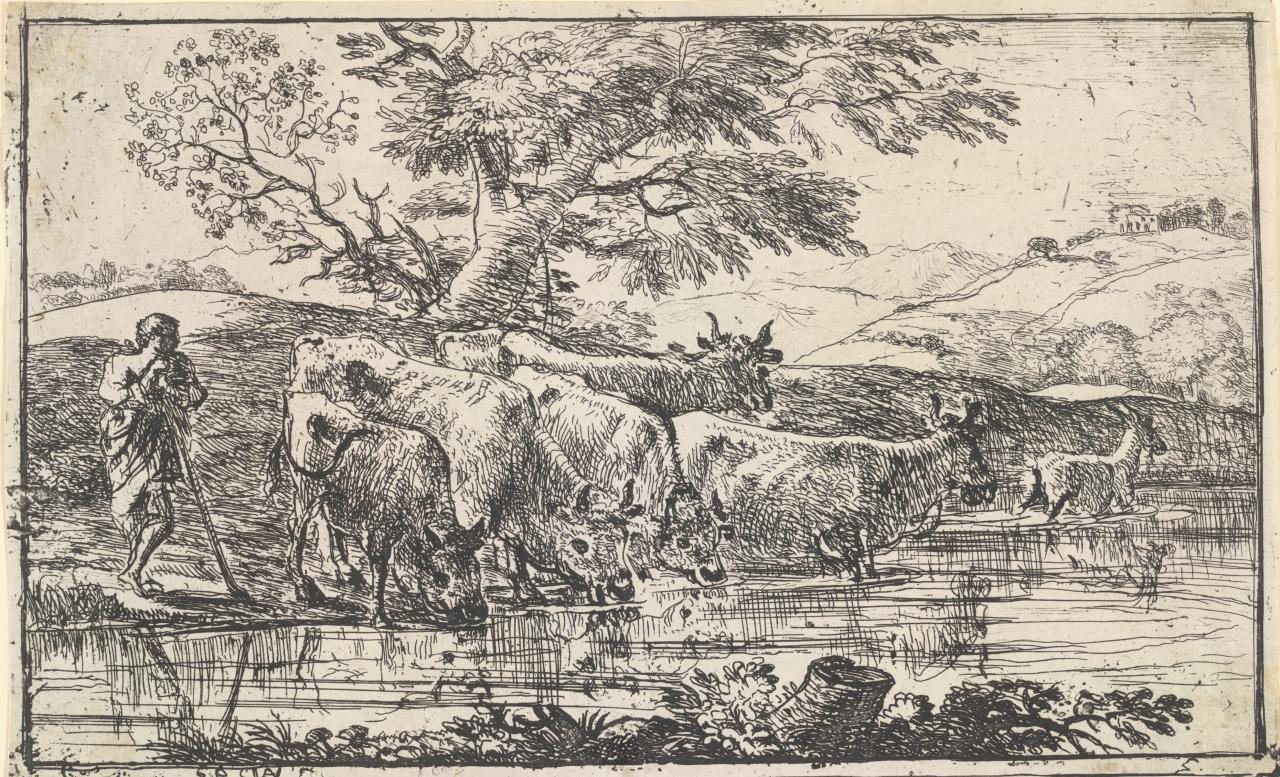 The Herd at the Pond (Le Troupeau a l'Abreuvoir)
