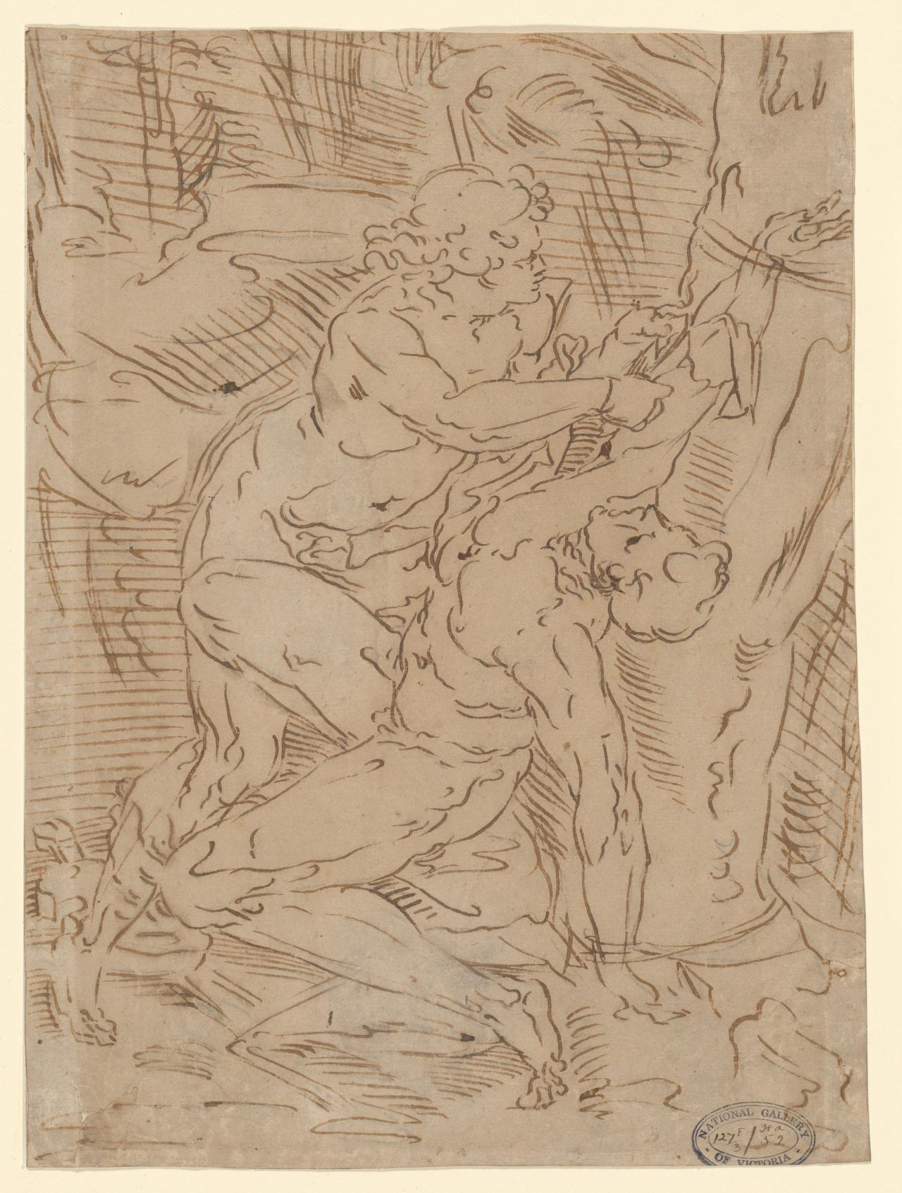 Apollo slaying Marsyas Fragment of a classical subject