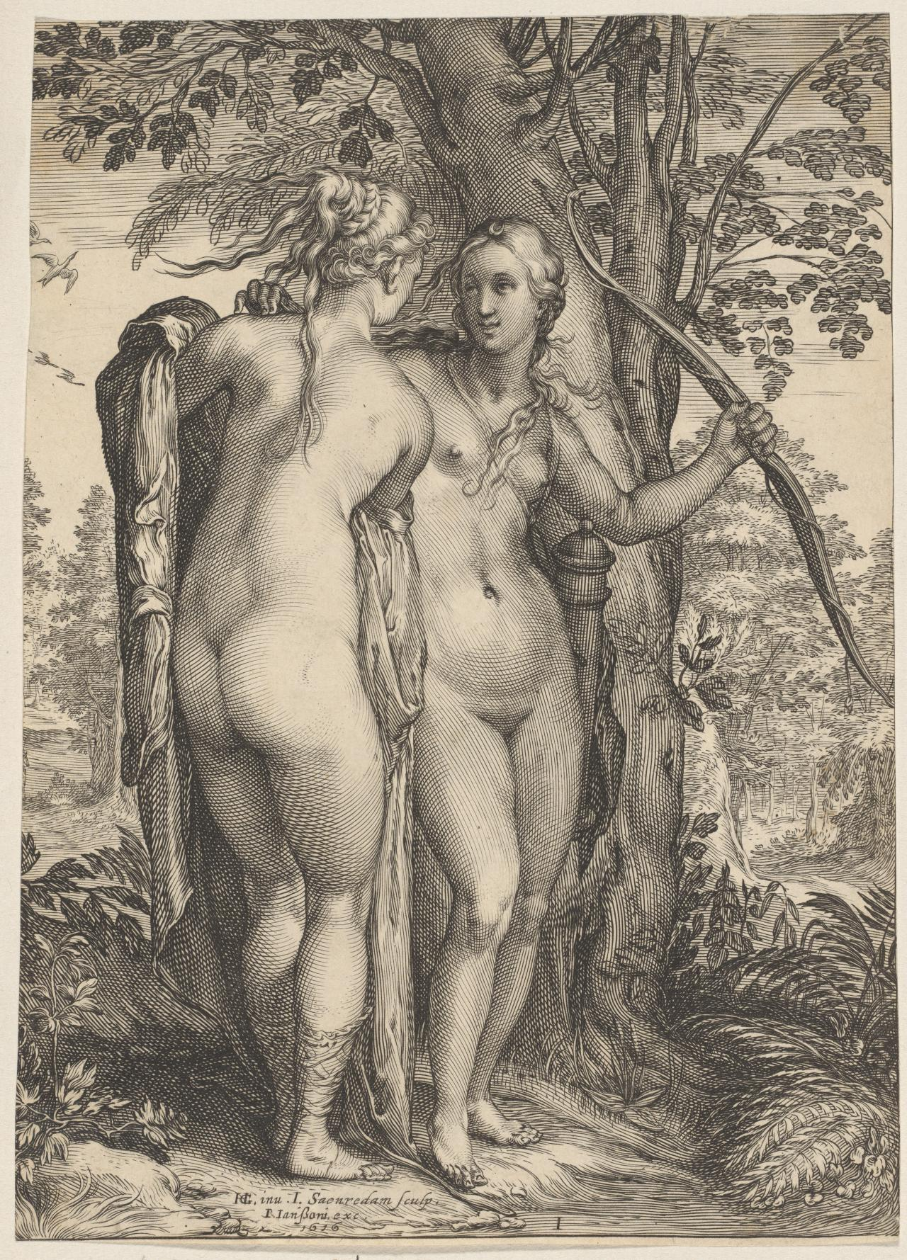 Two nymphs of Diana standing before a tree