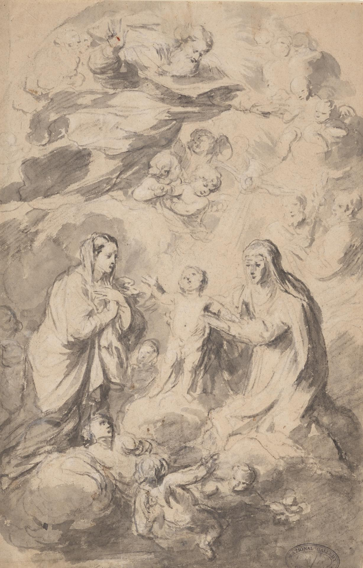 Virgin, child and a saint adoring God the father