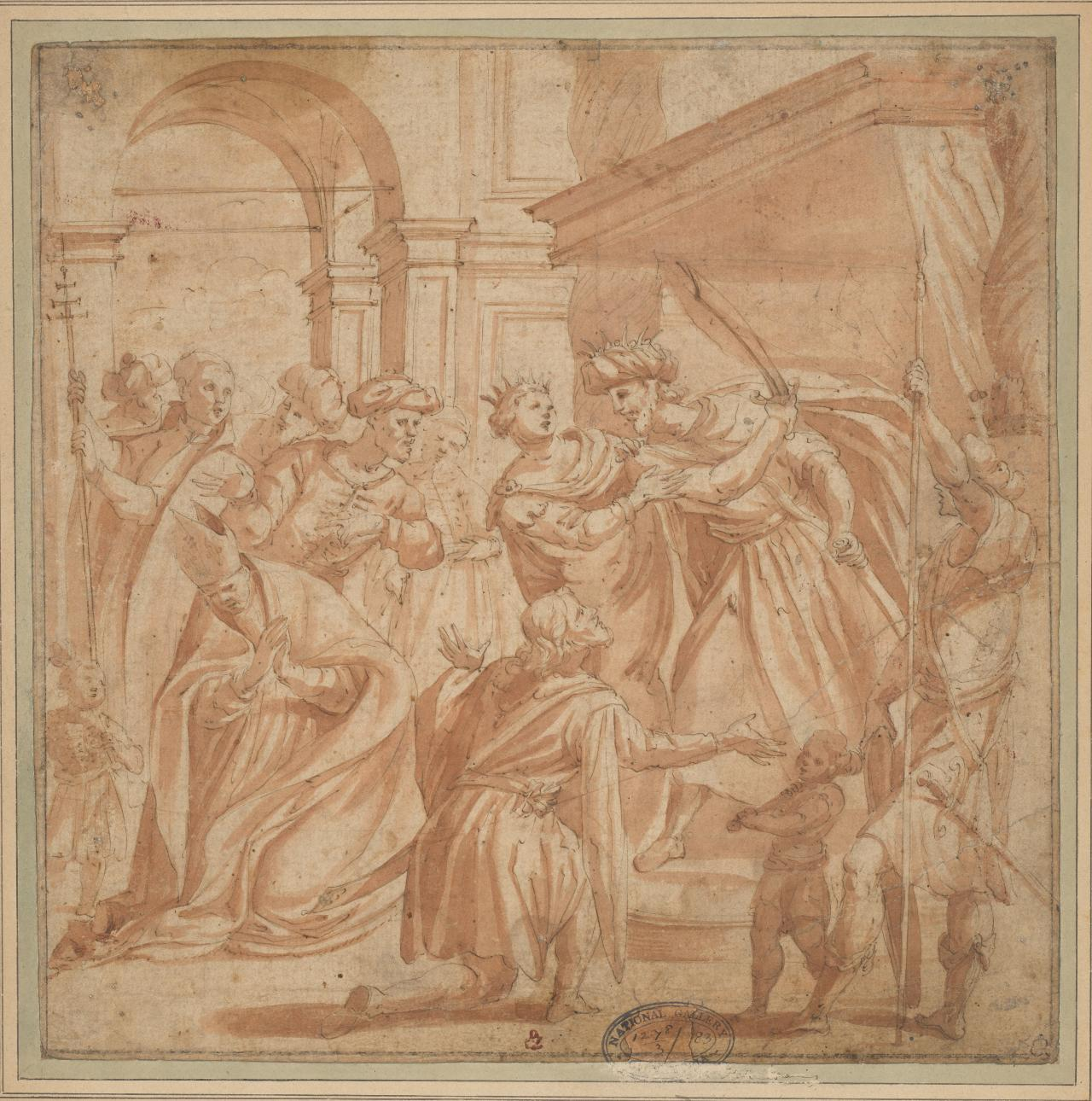 A King surrounded by his court, rises up from his throne threatening with a sword a bishop kneeling before him