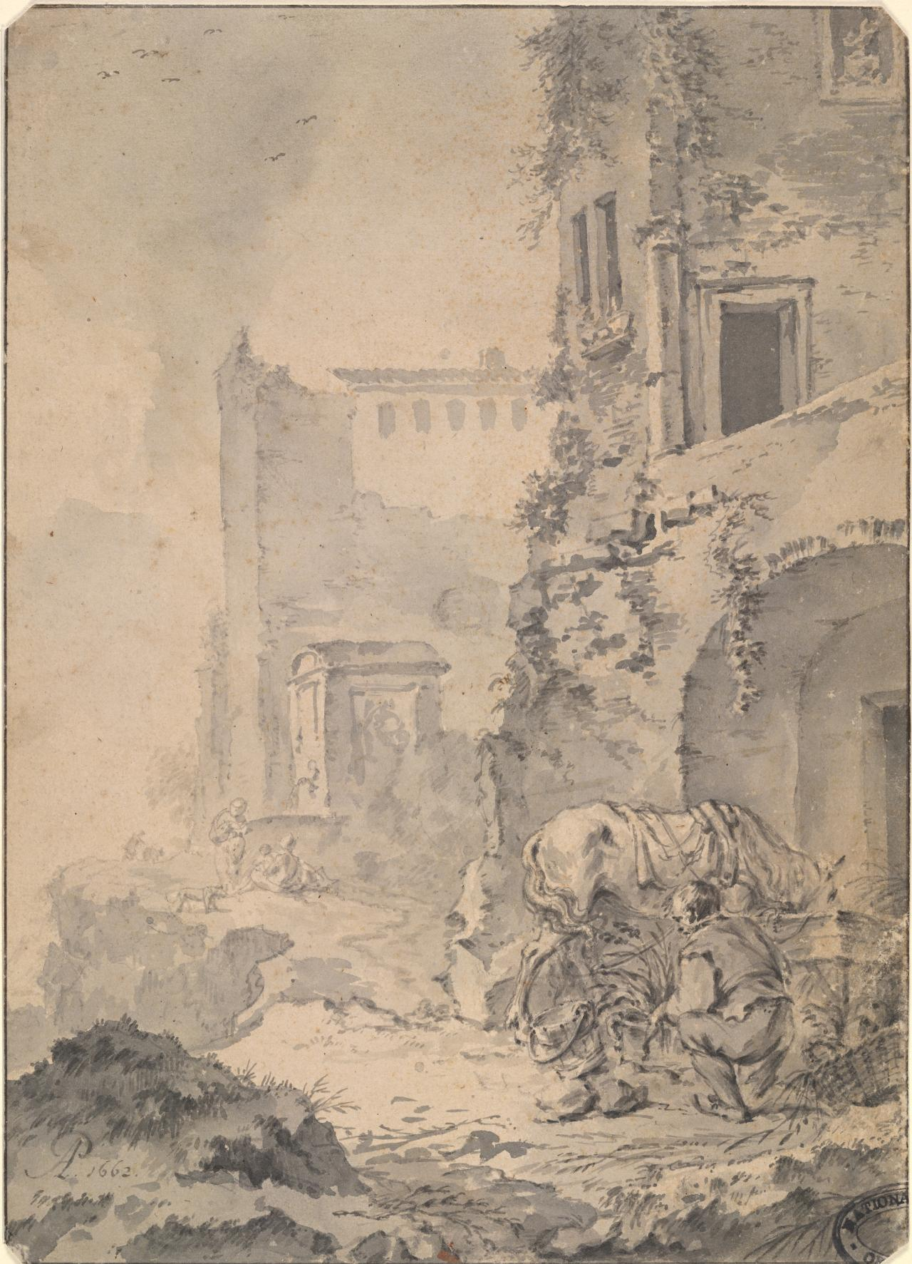 Italianate ruins with man and horse in foreground