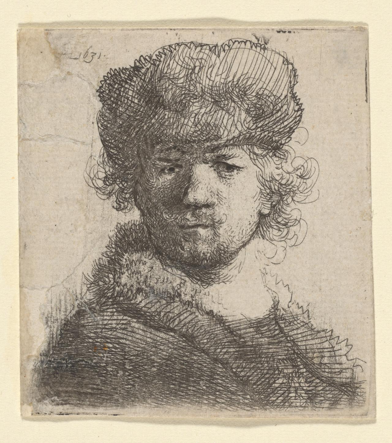 Rembrandt in a Heavy Fur Cap:Full Face:Bust.